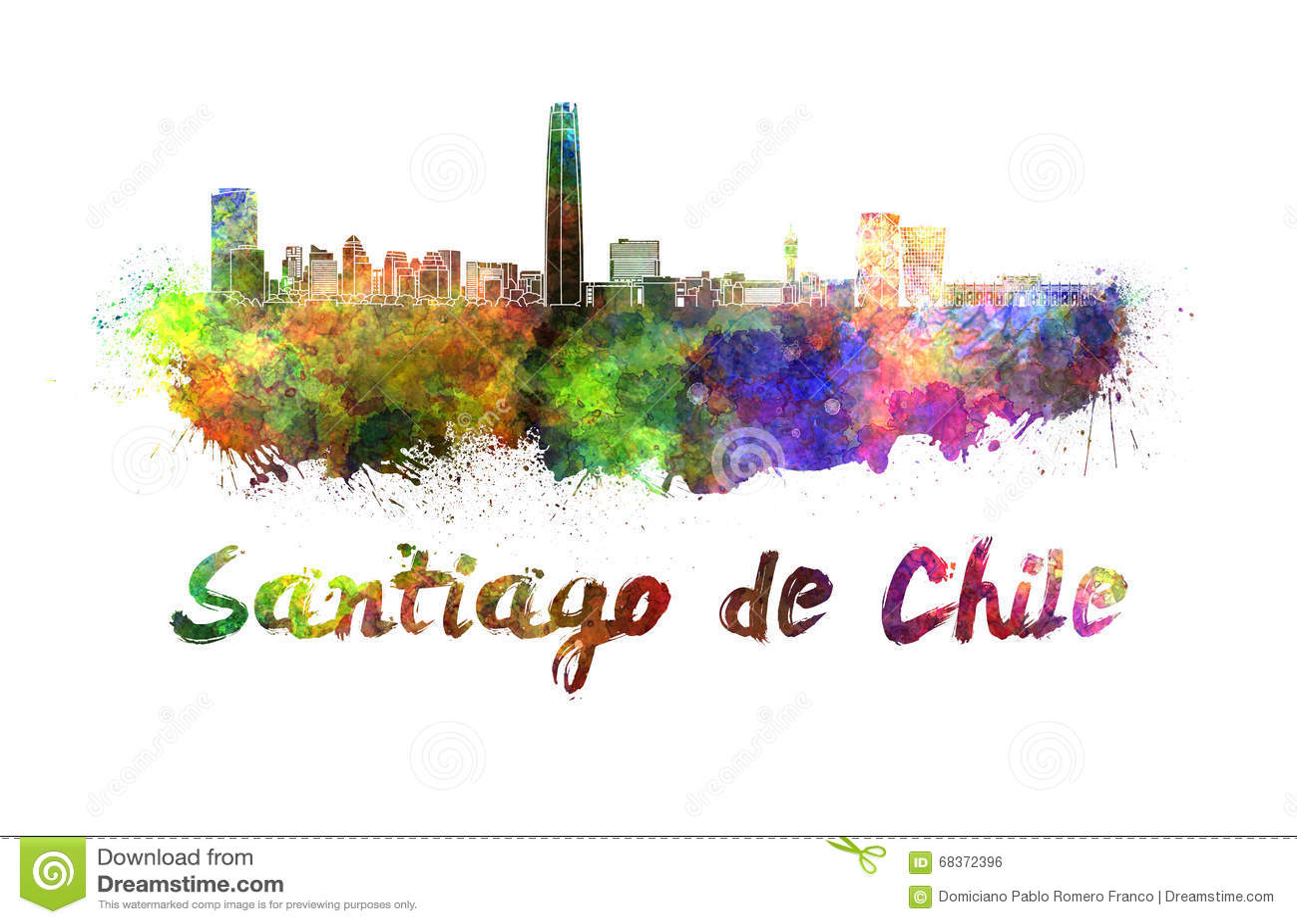 santiago de chile skyline in watercolor stock illustration