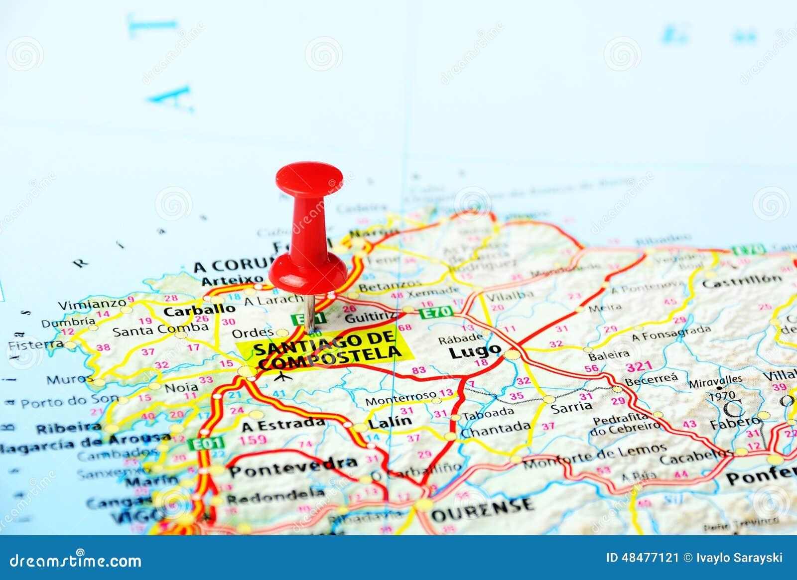 mapa de espanha santiago de compostela Santiago De Compostela, Mapa Da Espanha Imagem de Stock   Imagem  mapa de espanha santiago de compostela