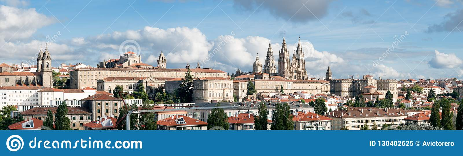 santiago de compostela wide panoramic view cathedral with the new