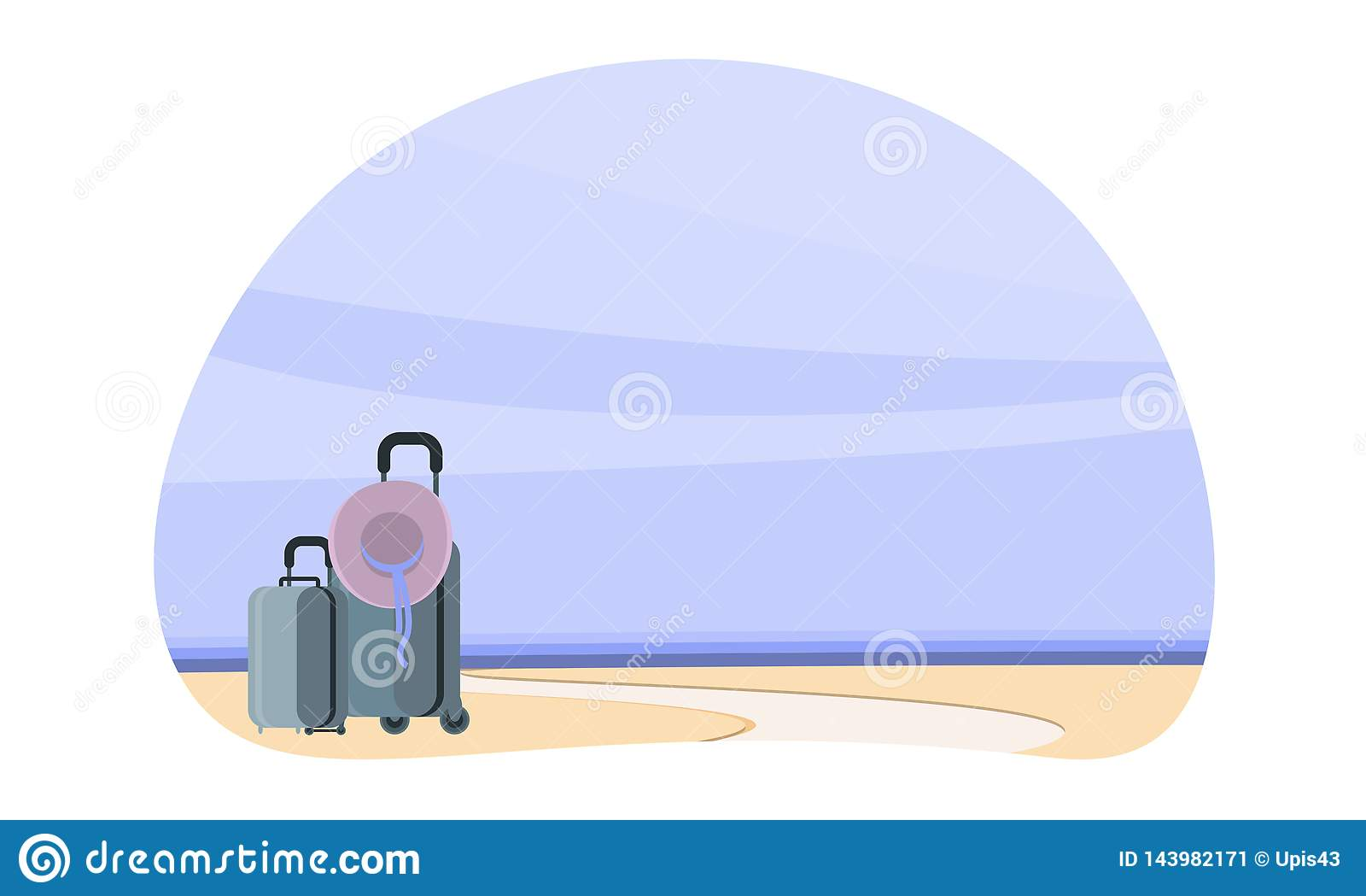 Santo гостиничного номера domingo Плакат лета, чемоданы морем, началом путешествия, лета Плакат для вашего дела