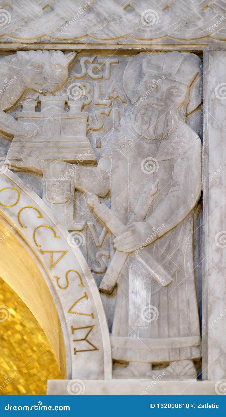 Santo Blaise, detalle del ciborio en la iglesia del santo Blaise en Zagreb
