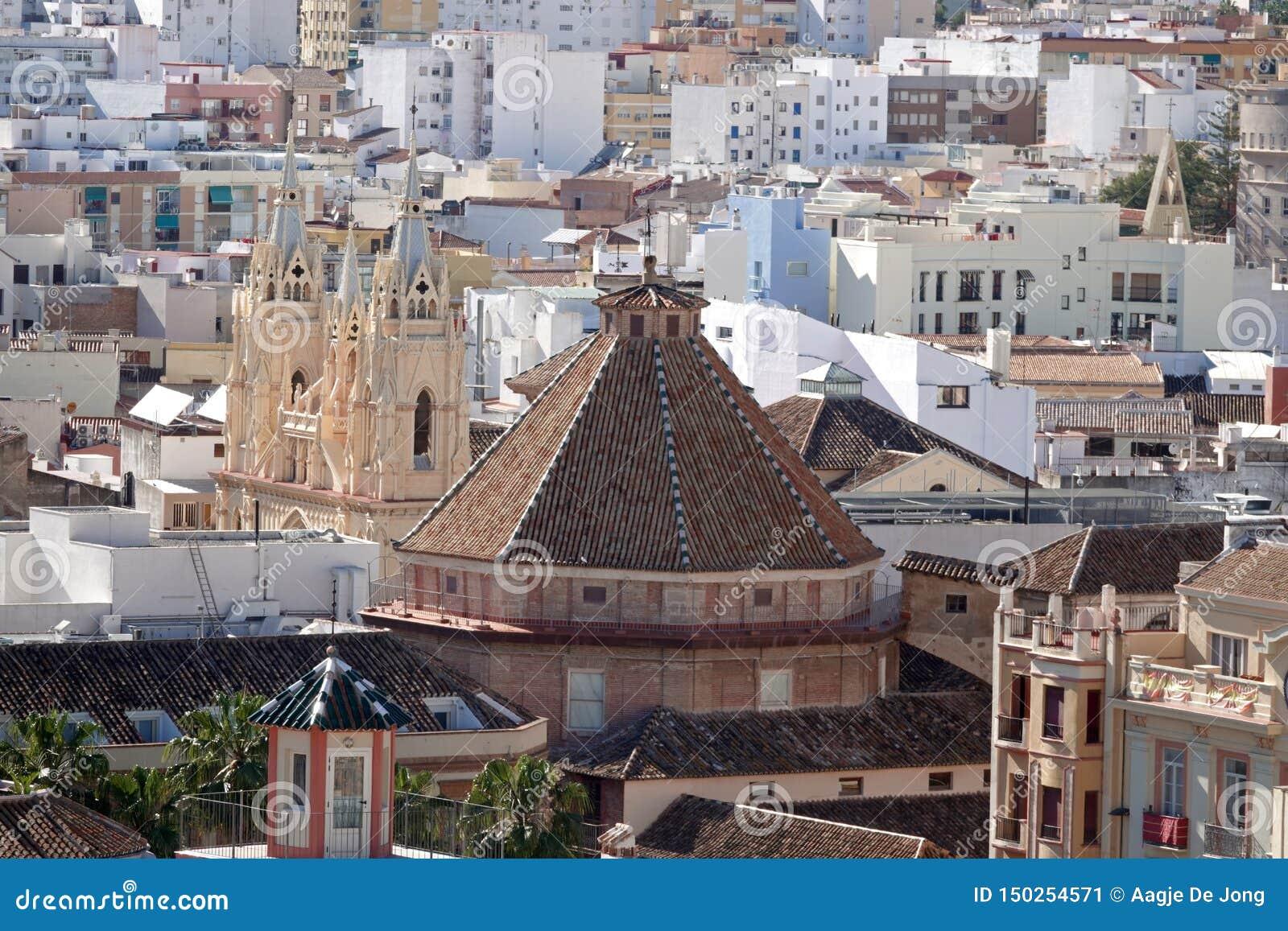 Santo Cristo i San Ignacio kościół od dachu katedra Malaga w Andalusia, Hiszpania