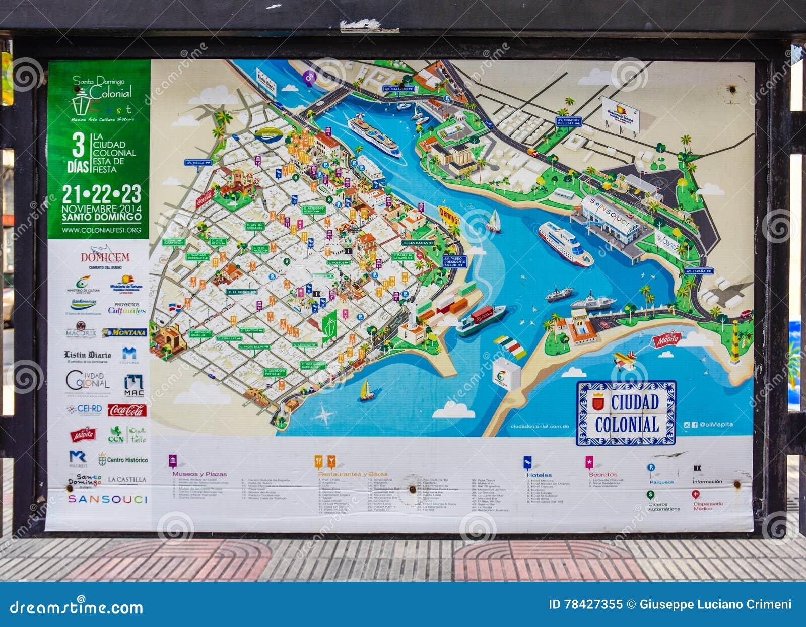 Santo Domingo Dominican Republic Map Of Colonial City In Calle - Dominican republic cities map