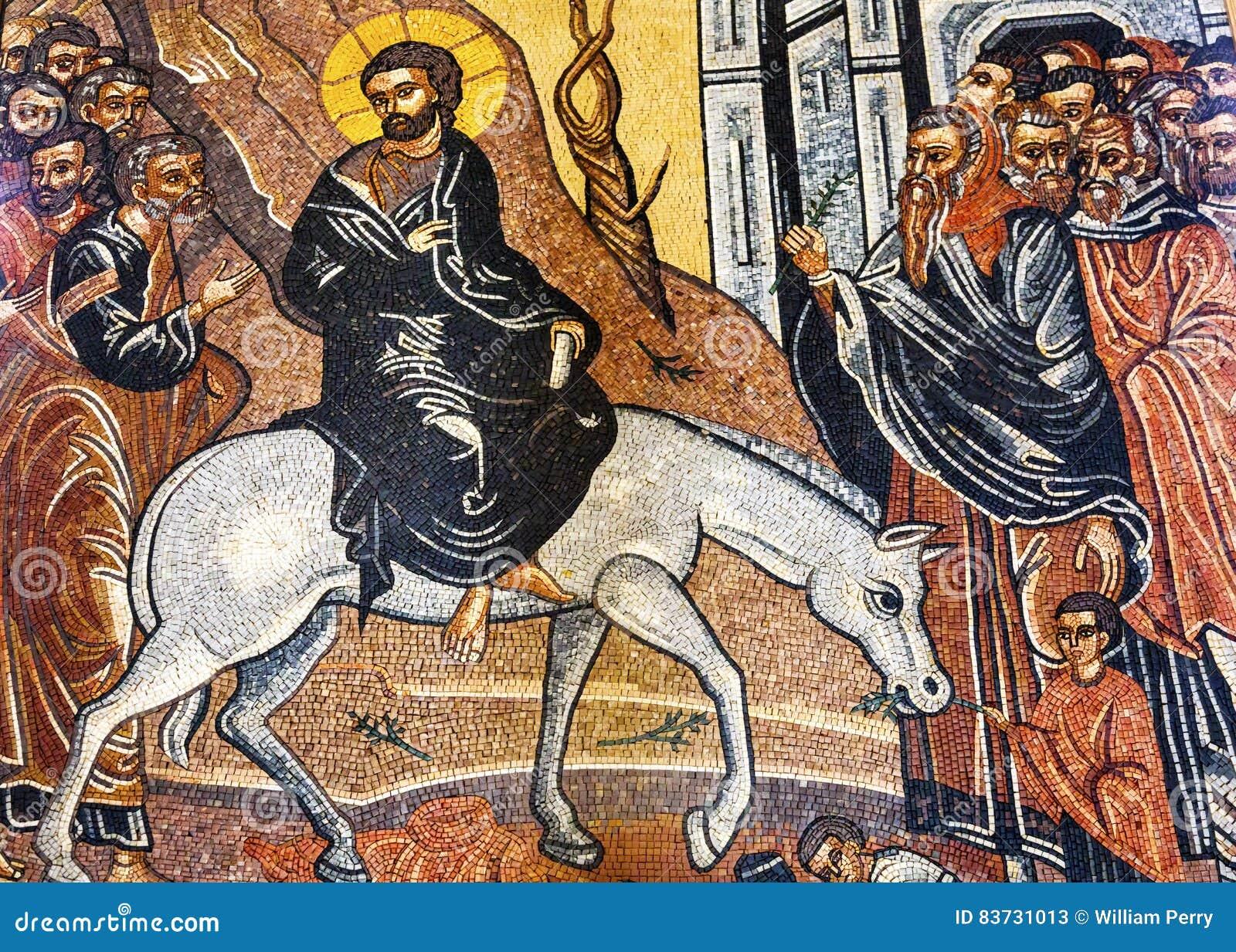 Santo George Church Madaba Jordan de Jesus Christ Palm Sunday Mosaic
