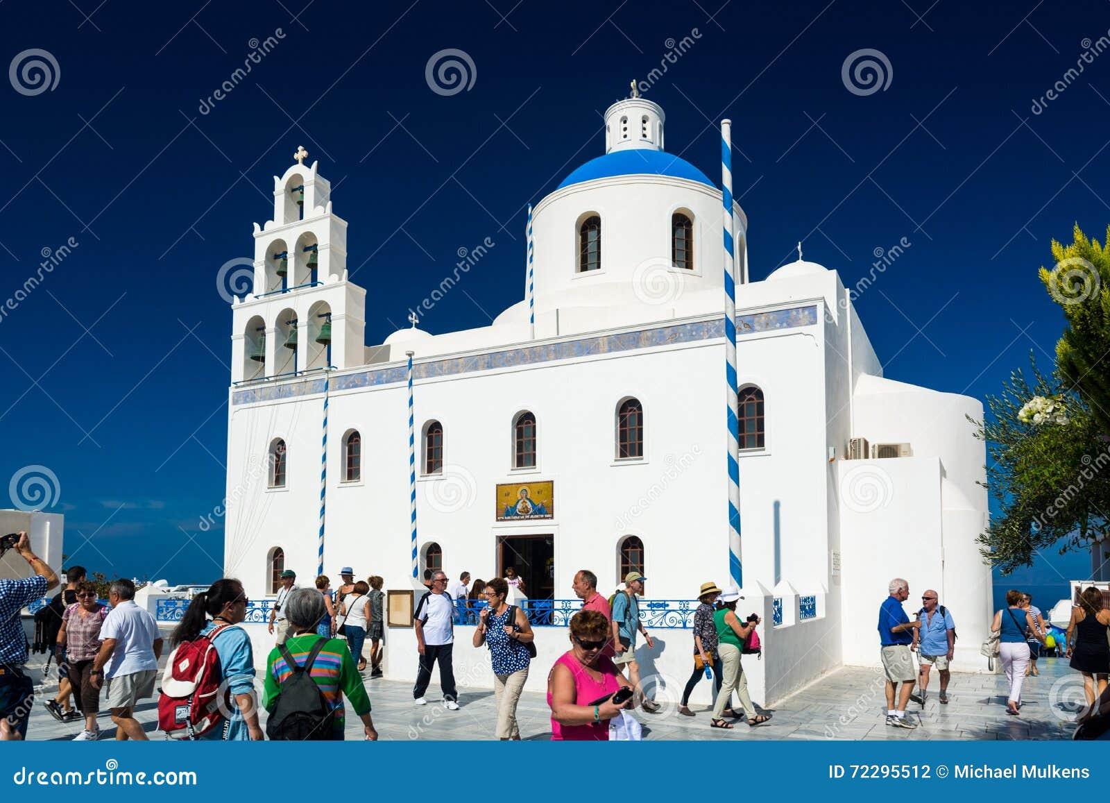 Download Santorini, Греция, взгляд от шлюпки круиза Редакционное Фотография - изображение насчитывающей athene, небо: 72295512