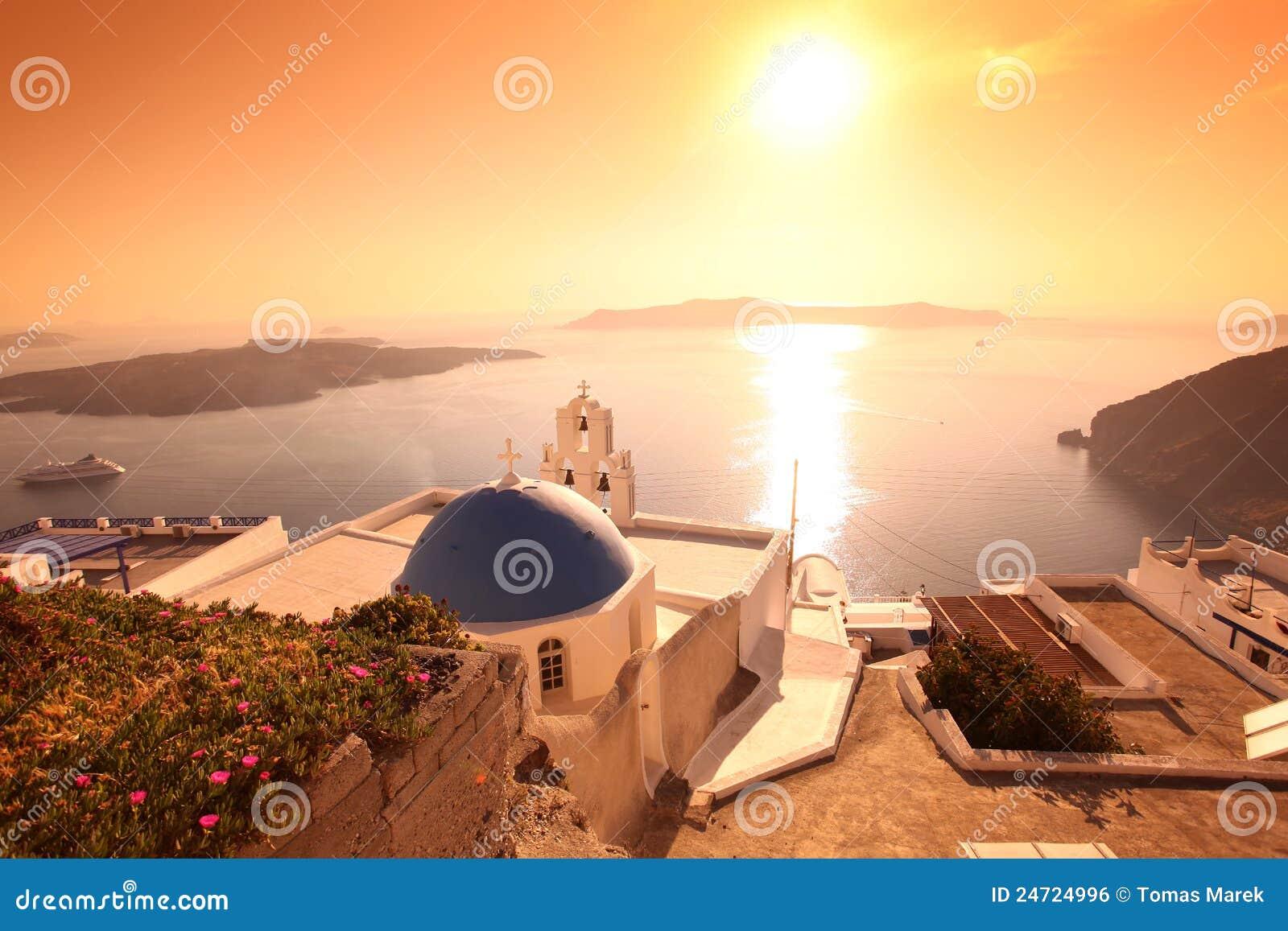 Santorini Church in Fira against sunset,Greece