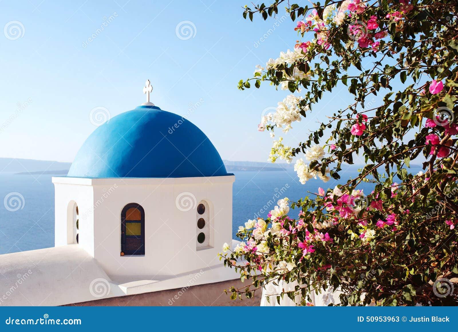 Santorini classic blue dome church. Greece.