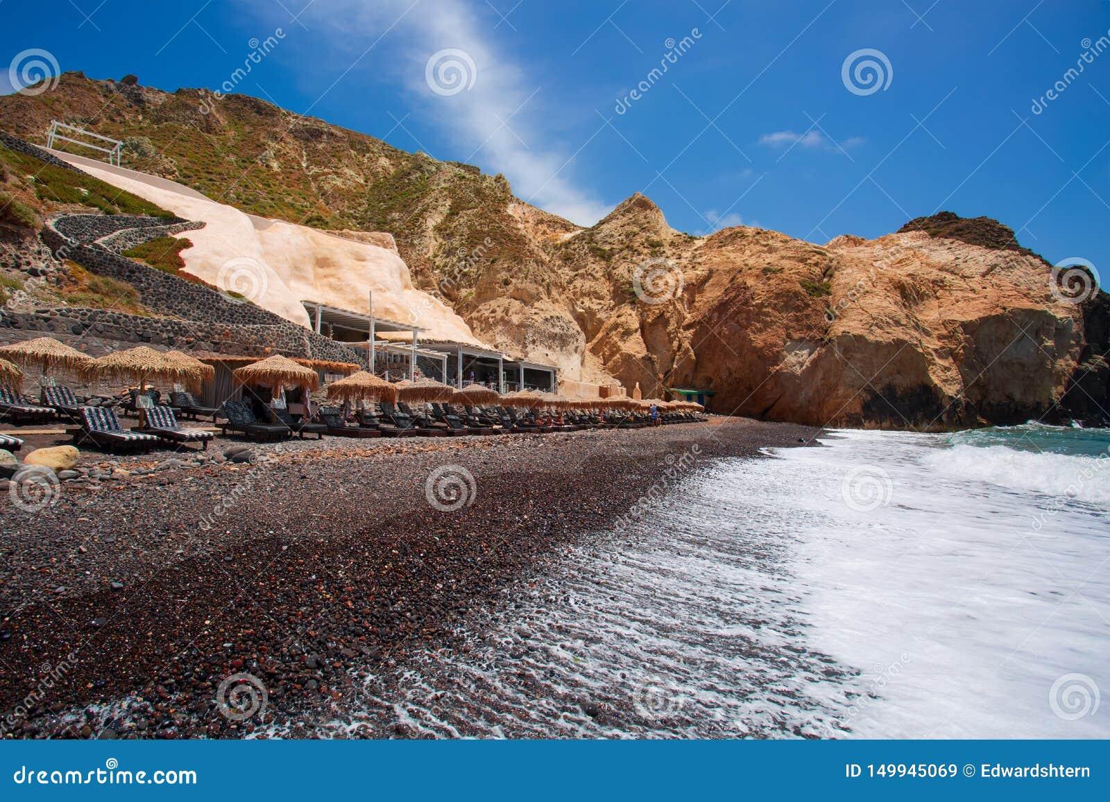 Santorini - der schwarze Strand vom S?dteil der Insel