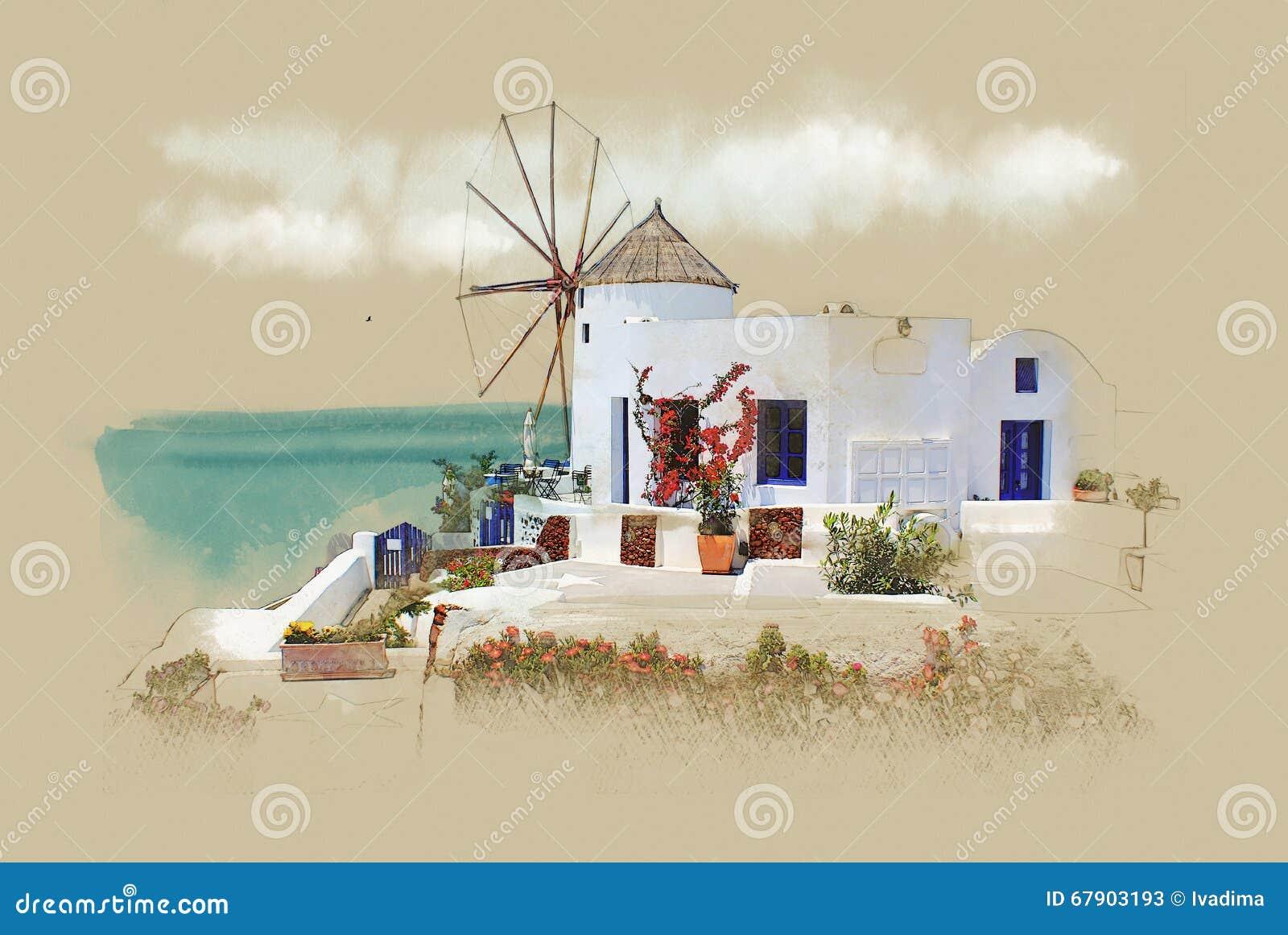 Santorini, Grecia, postal vieja Bosquejo de la acuarela Sepia Gráficos en el papel viejo