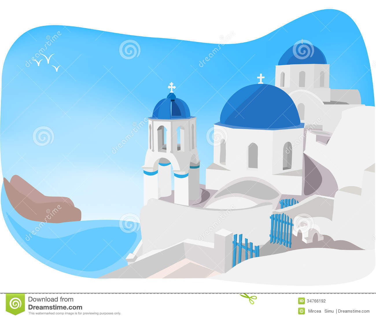 Blue and white churches of Oia village, Santorini, Greece.