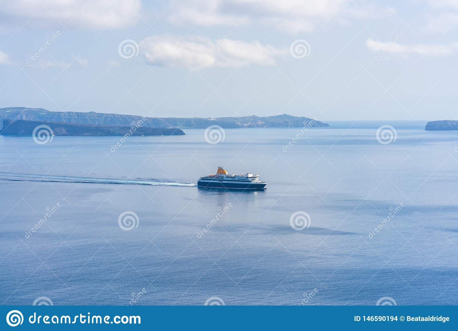 Santorini Landscape With Of Volcano Caldera And Ferry On