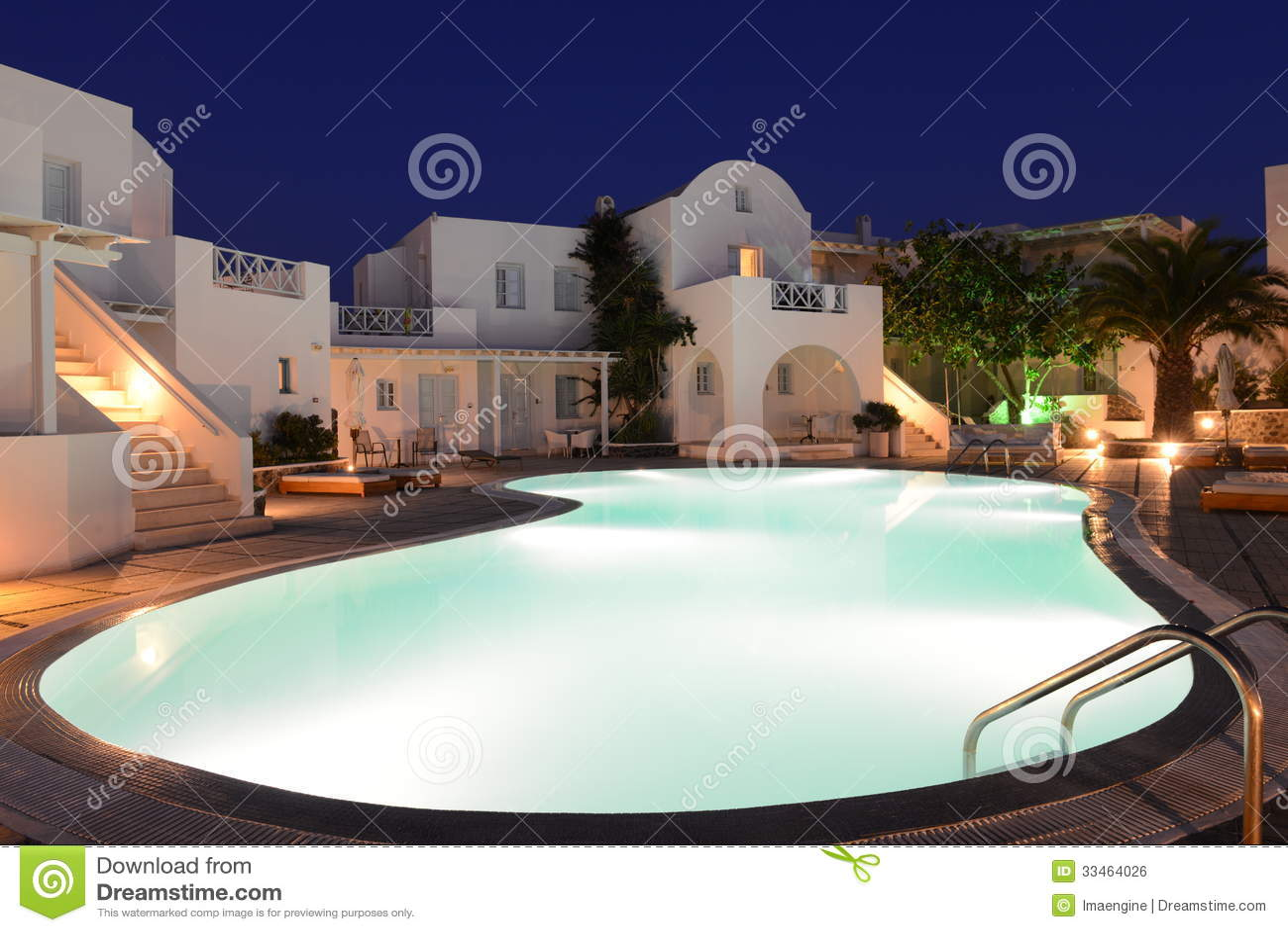 Santorini Luxurious Resort At Night Royalty Free Stock