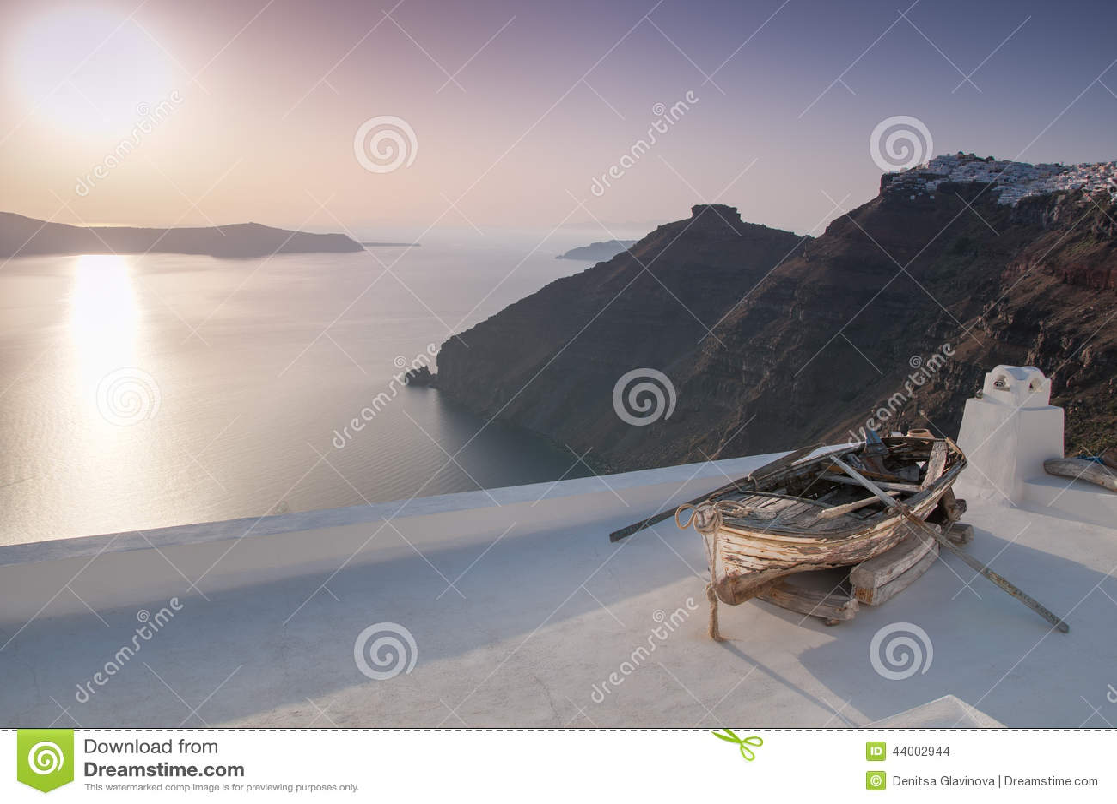 Santorini no por do sol