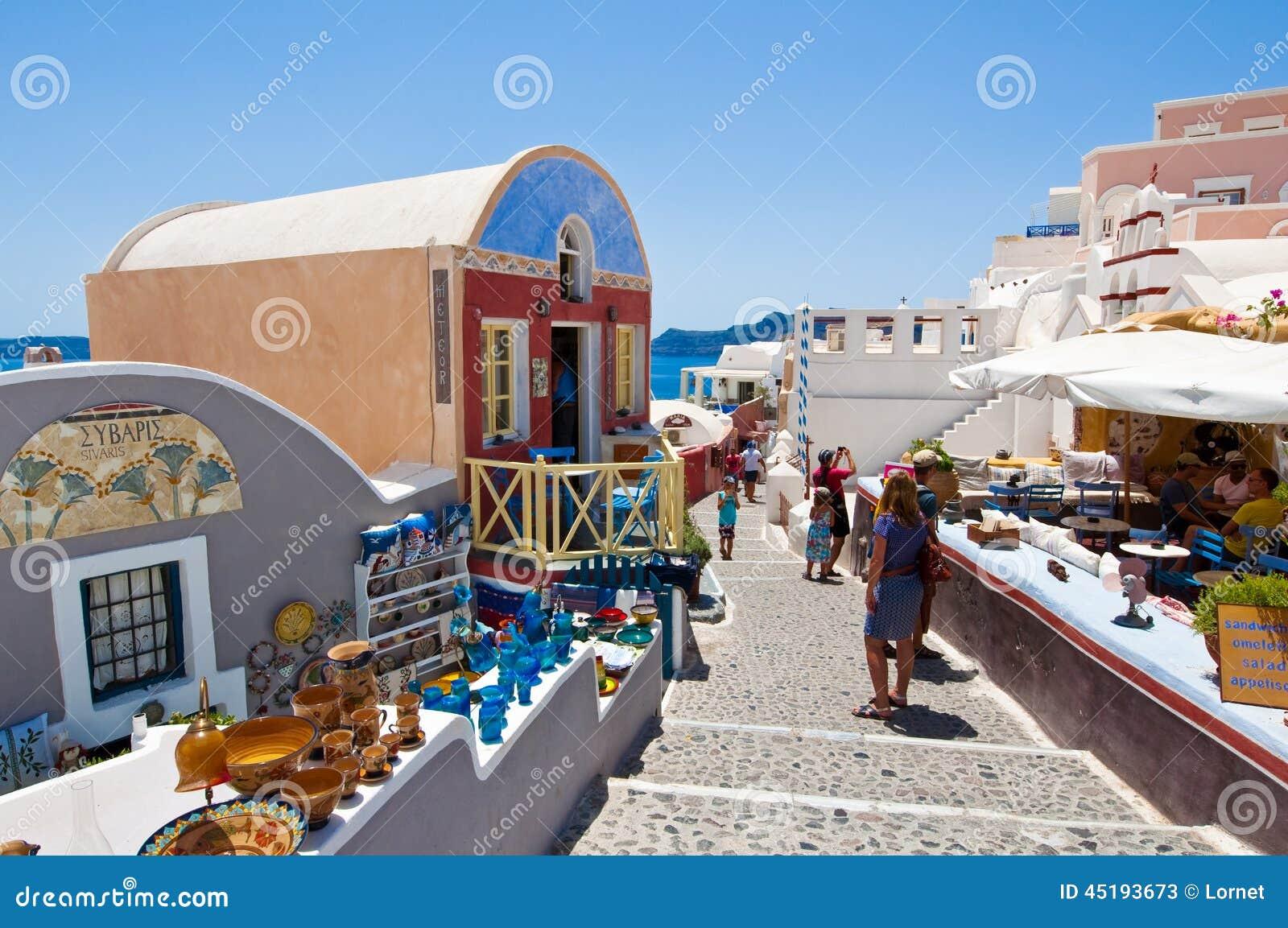 Santorini Oia 28 Juli Touristen Tun Kaufen 24 2018 Im