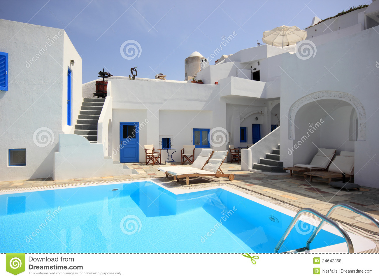 Santorini pool house royalty free stock photos image for Design hotels am meer