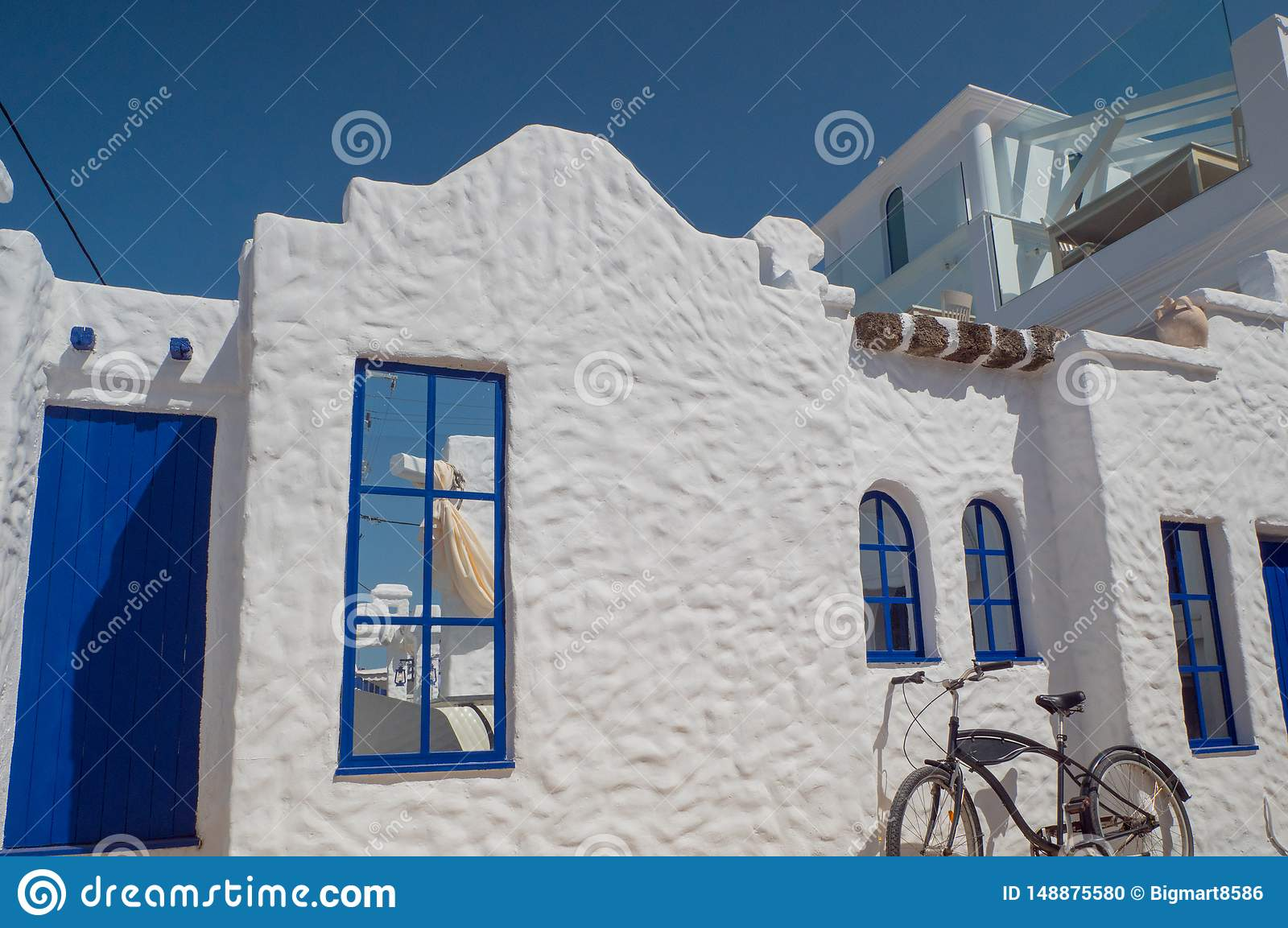 Santorini style building white and blue colors