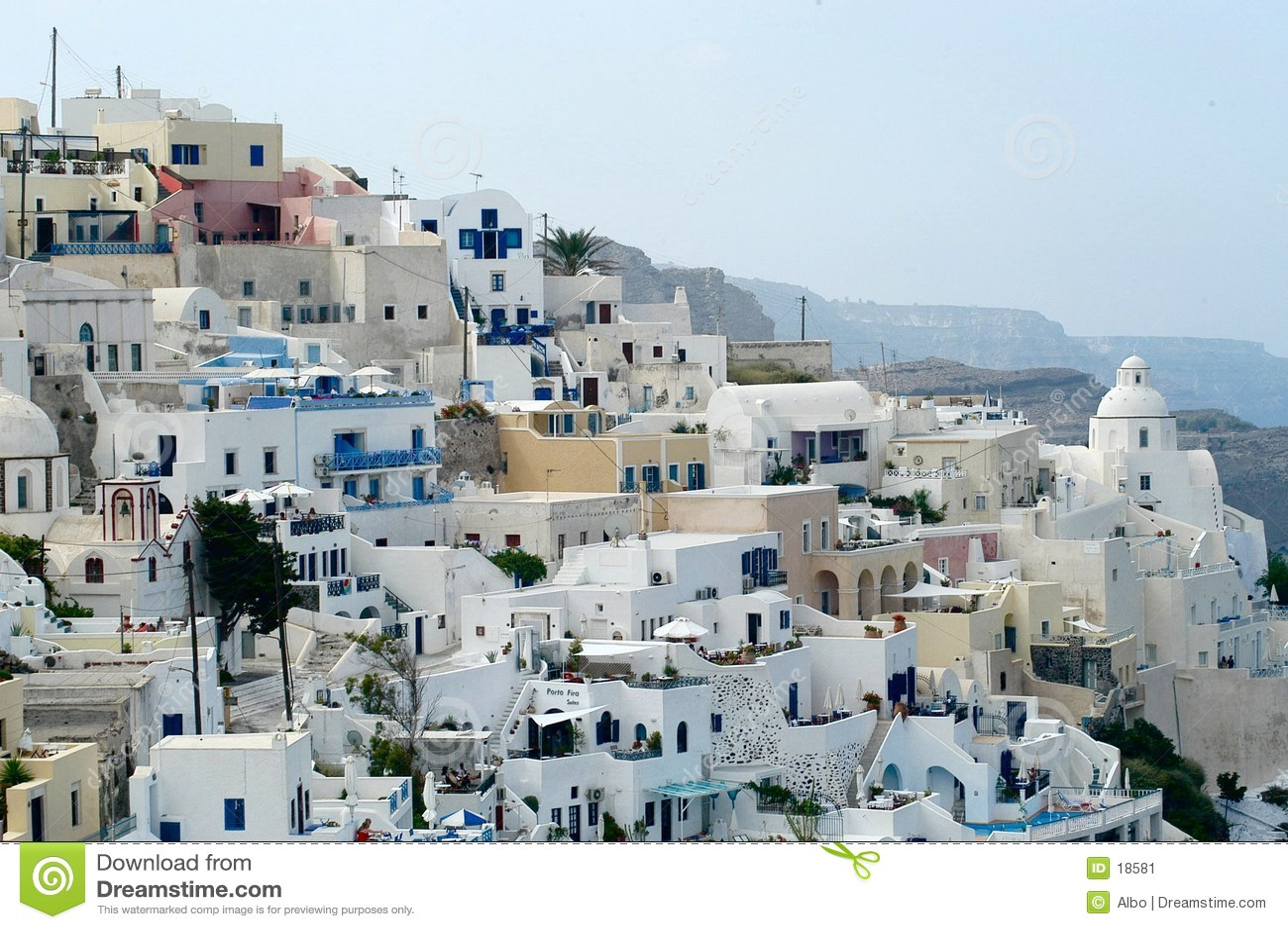 Santorini tegen dag