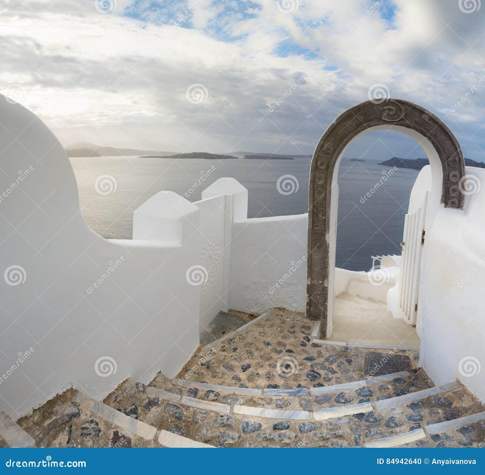 Santorini - Treppenhaus In Richtung Zur Magestic Ansicht über Kessel ...