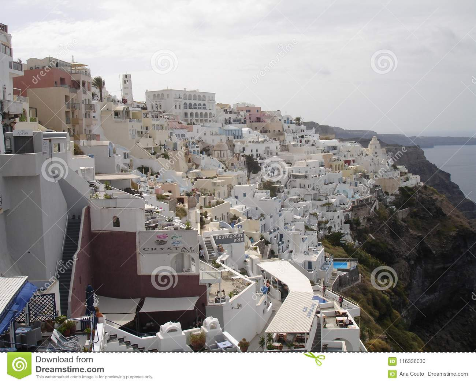 Santorini, uno de la isla visitada de Grecia