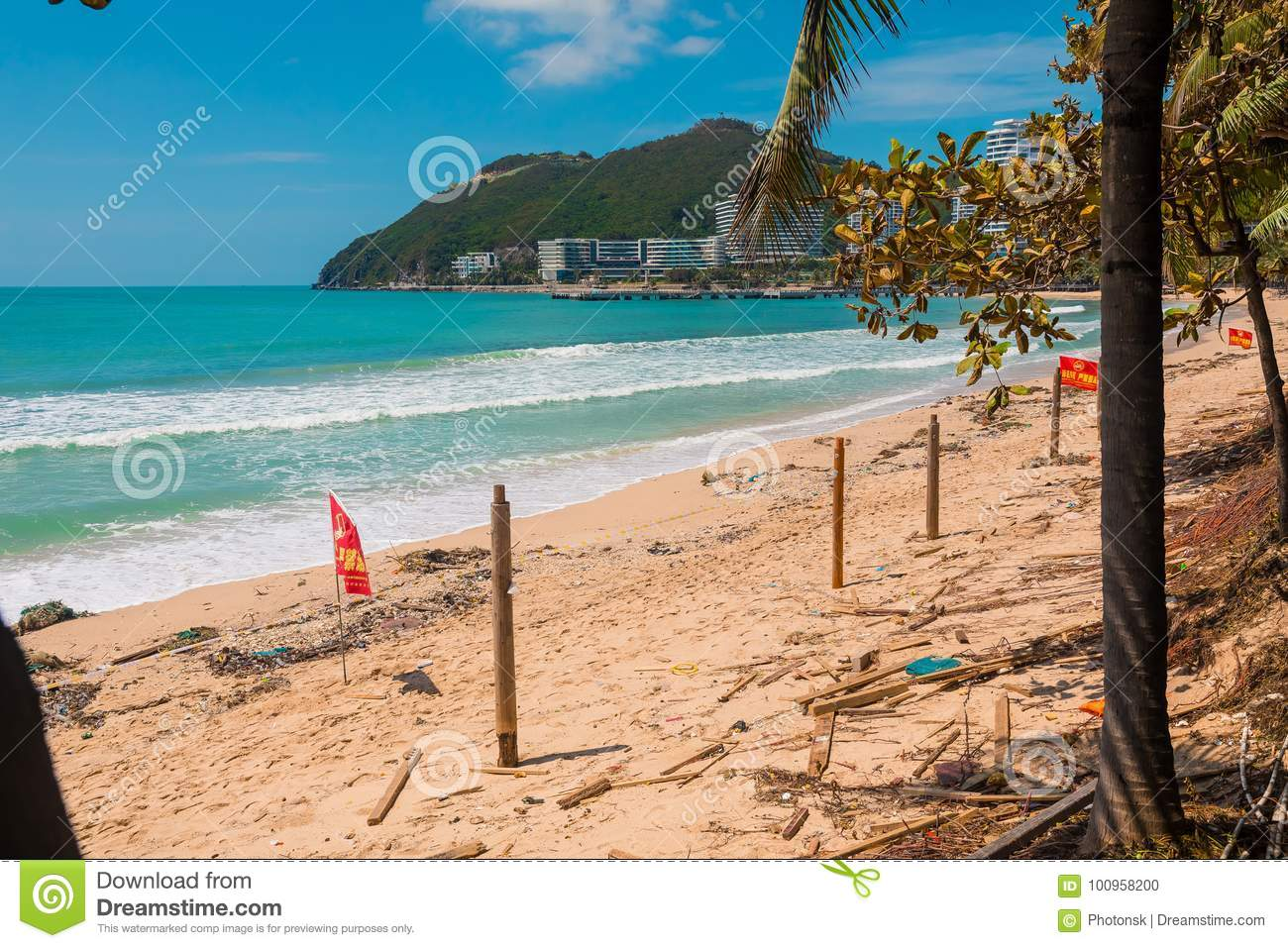 SANYA, CHINA - SEPTEMBER 28, 2017: Consequences after typhoon, on the island of Hainan. Destructions after night