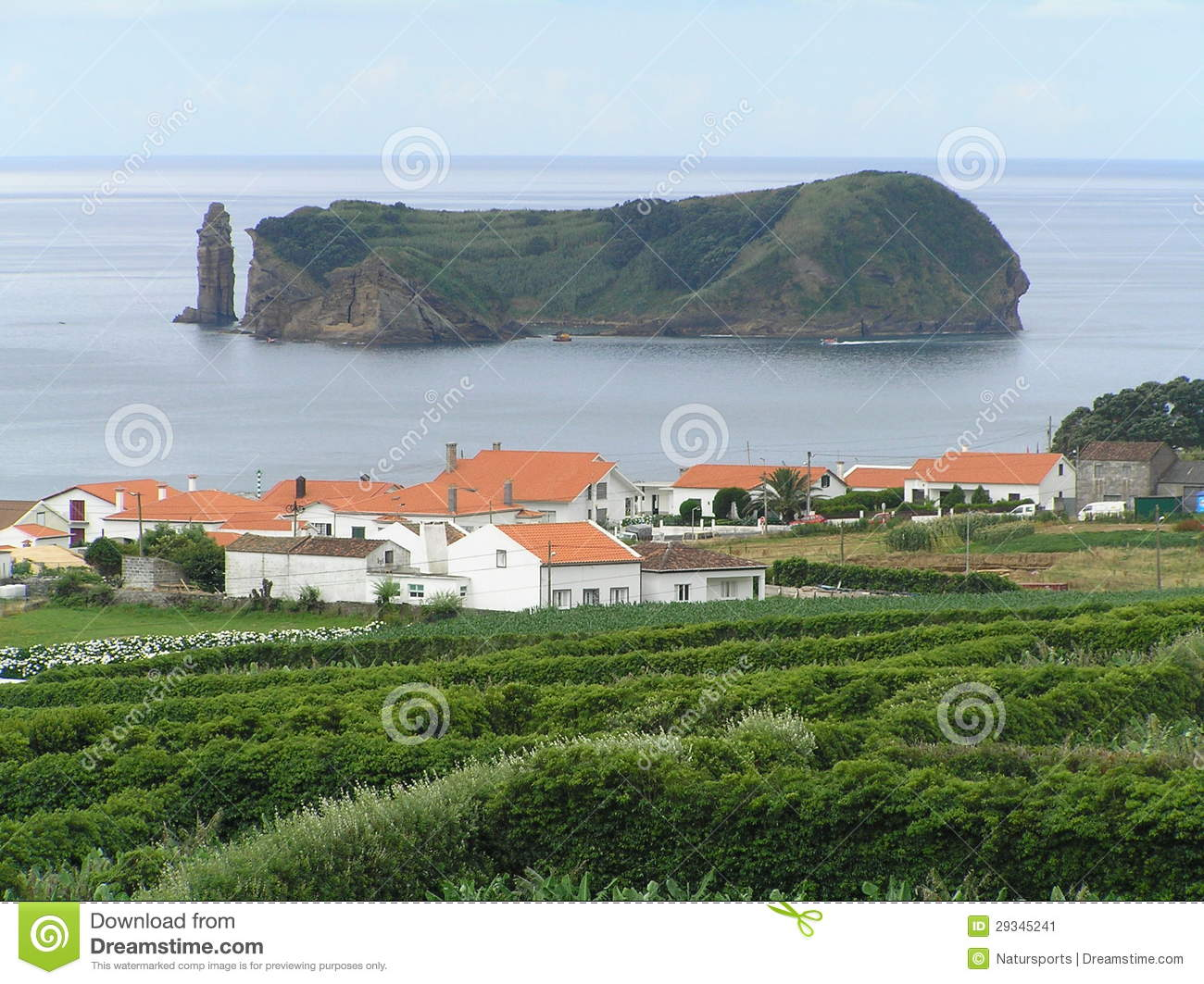 Landscape of Sao Miguel, Azores islands, Portugal. The village is Vila ...