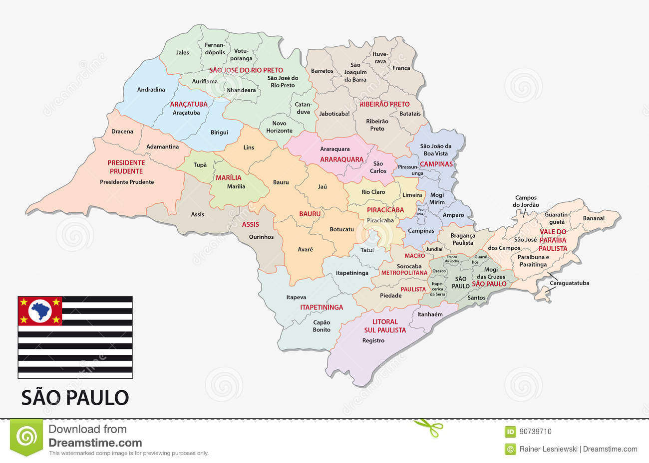 Sao Paulo Administrative And Political Map With Flag Stock Vector ...