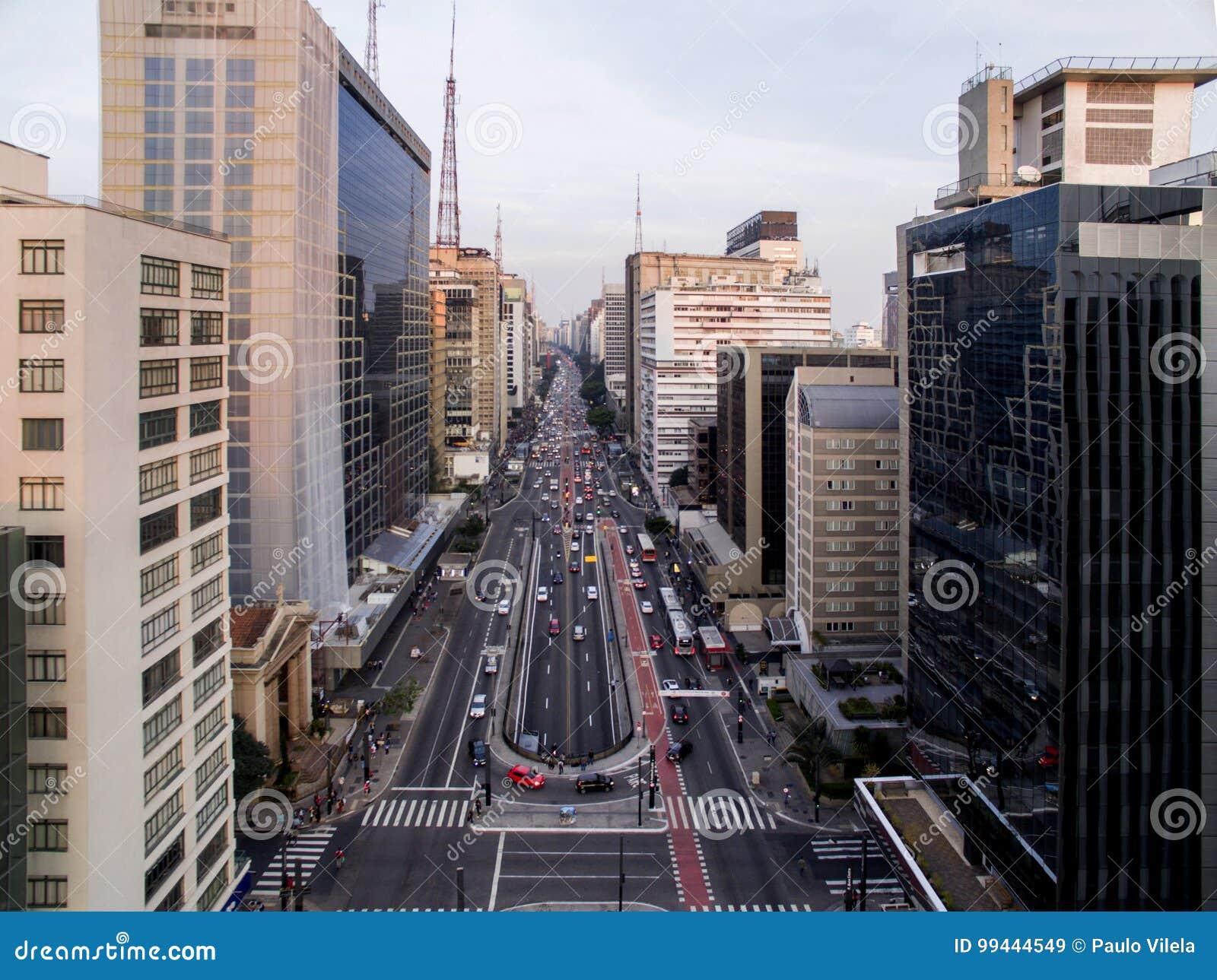 Sao Paulo, Brasil, em agosto de 2017 Vista aérea na avenida de Paulista, na cidade de Sao Paulo