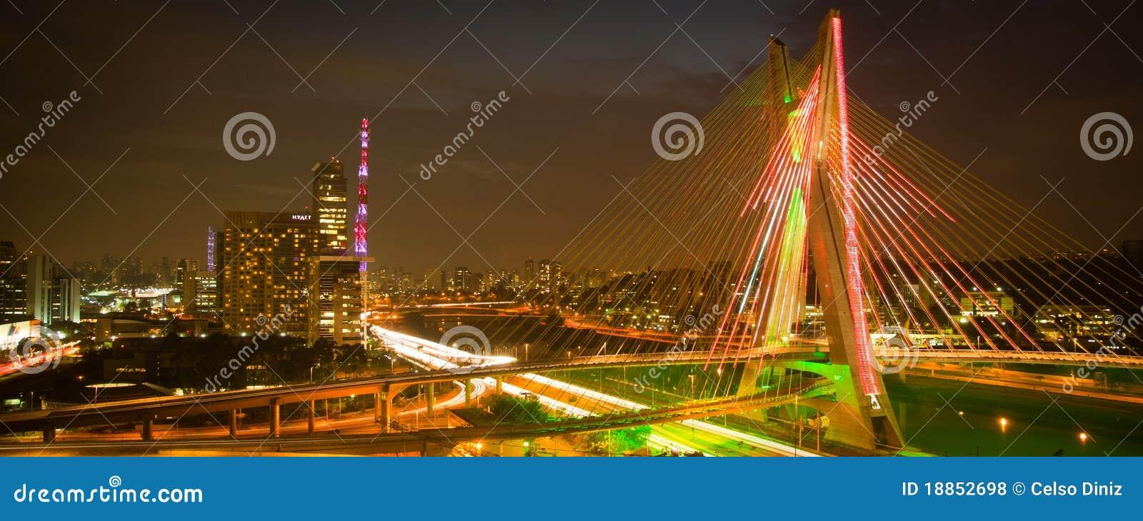 Sao Paulo city bridge at night