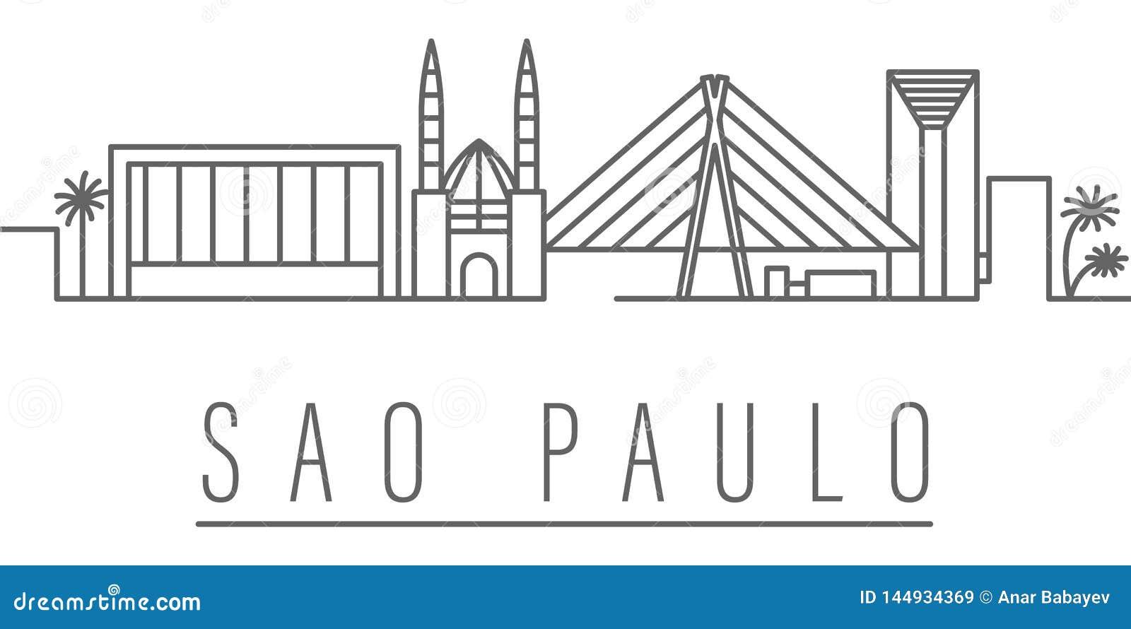 Sao Paulo miasta konturu ikona Elementy miast i kraj?w ilustracji ikona Znaki i symbole mog? u?ywa? dla sieci, logo,