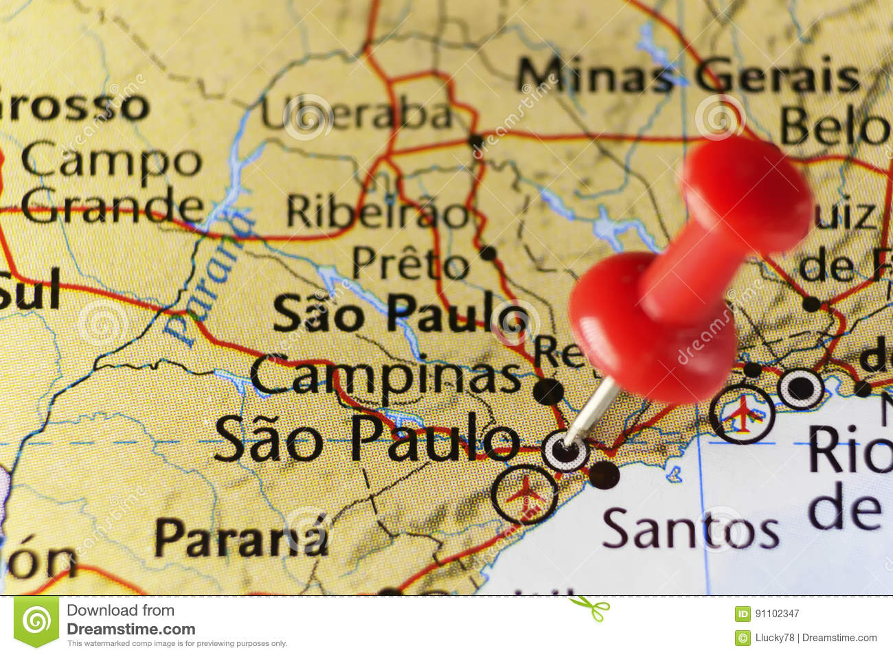 Sao Paulo Pinned Map, Brazil Stock Image - Image of holiday ...