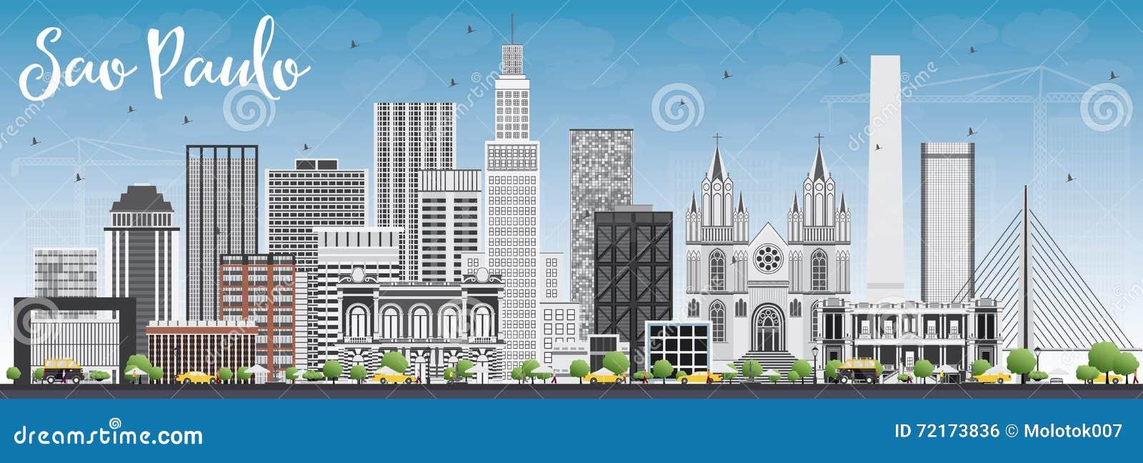 229654ee8e Sao Paulo Skyline met Gray Buildings en Blauwe Hemel Vector illustratie  Bedrijfsreis en toerismeconcept met moderne gebouwen Beeld voor het  Aanplakbiljet en ...