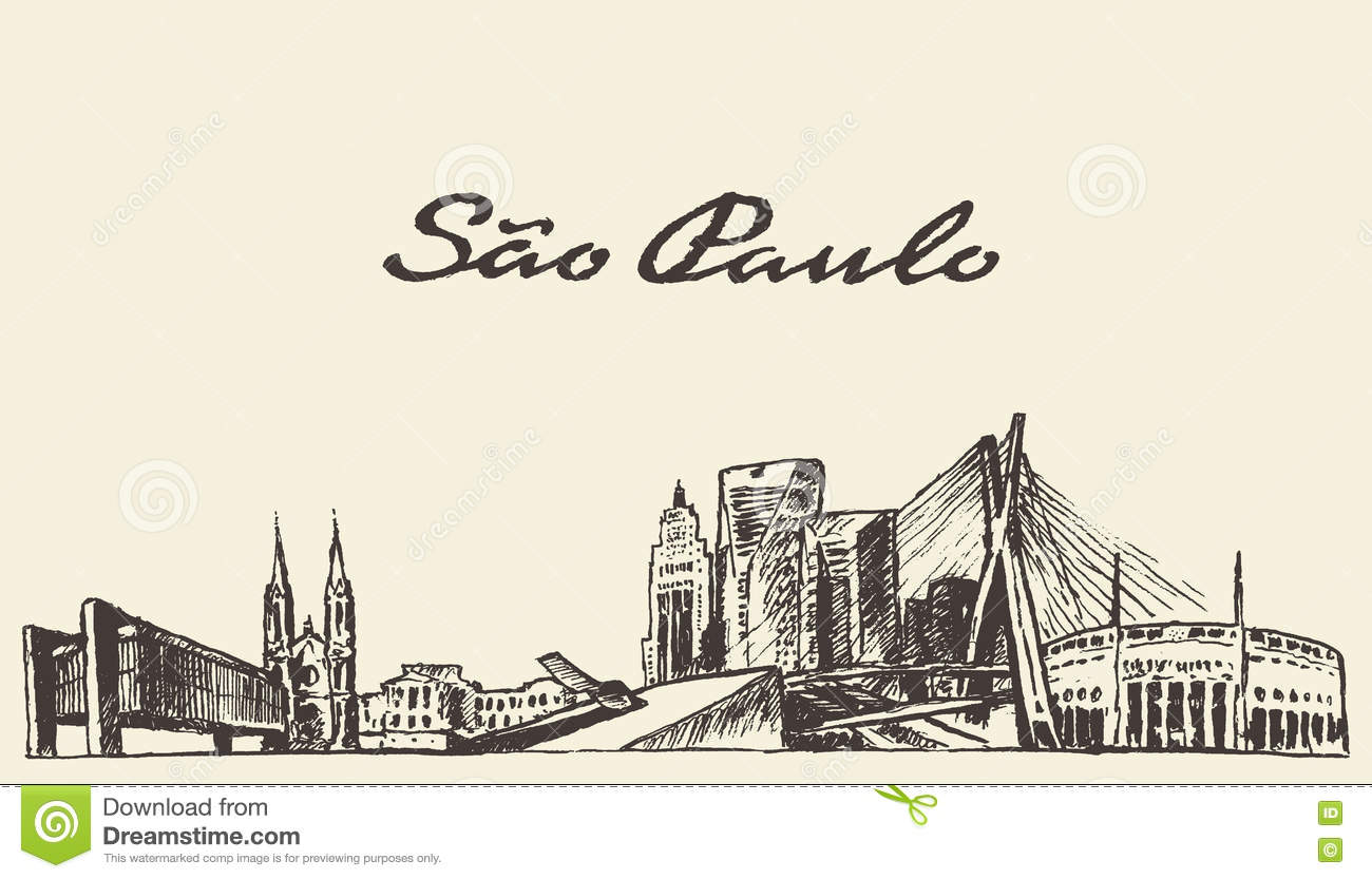 Sao paulo skyline vector illustration drawn sketch stock for Sketch online free
