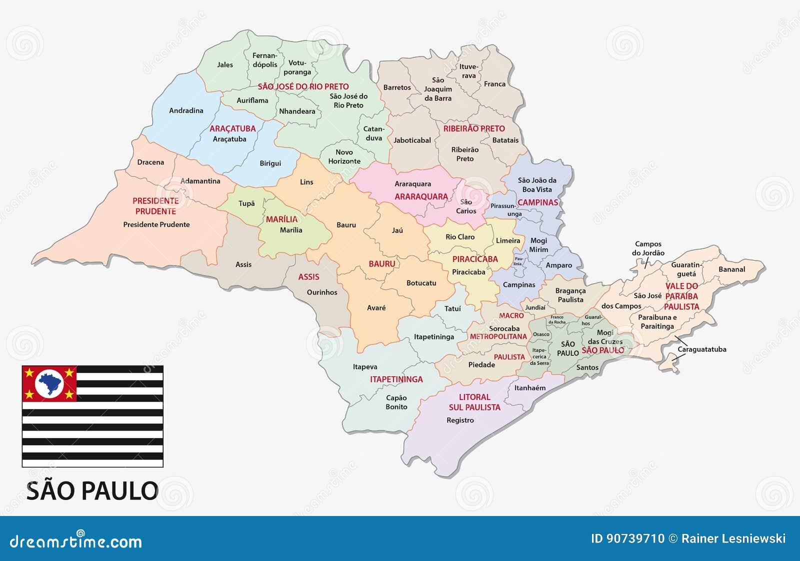 Sao Paulo Verwaltungs Und Politische Karte Mit Flagge Vektor
