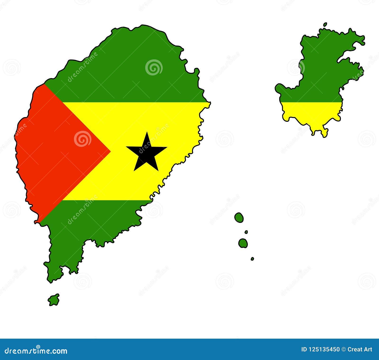 Sao Tome And Principe Map Of Sao Tome And Principe Vector Illus
