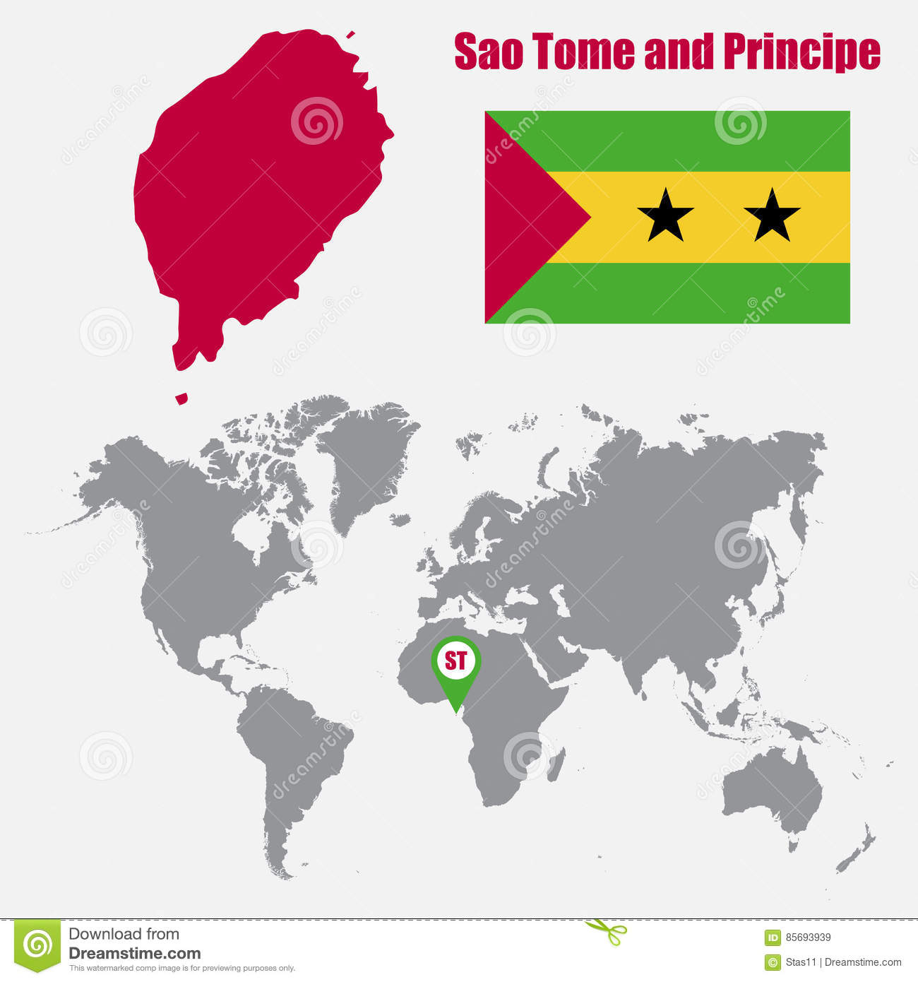 Sao Tome And Principe Map On A World Map With Flag And Map Pointer