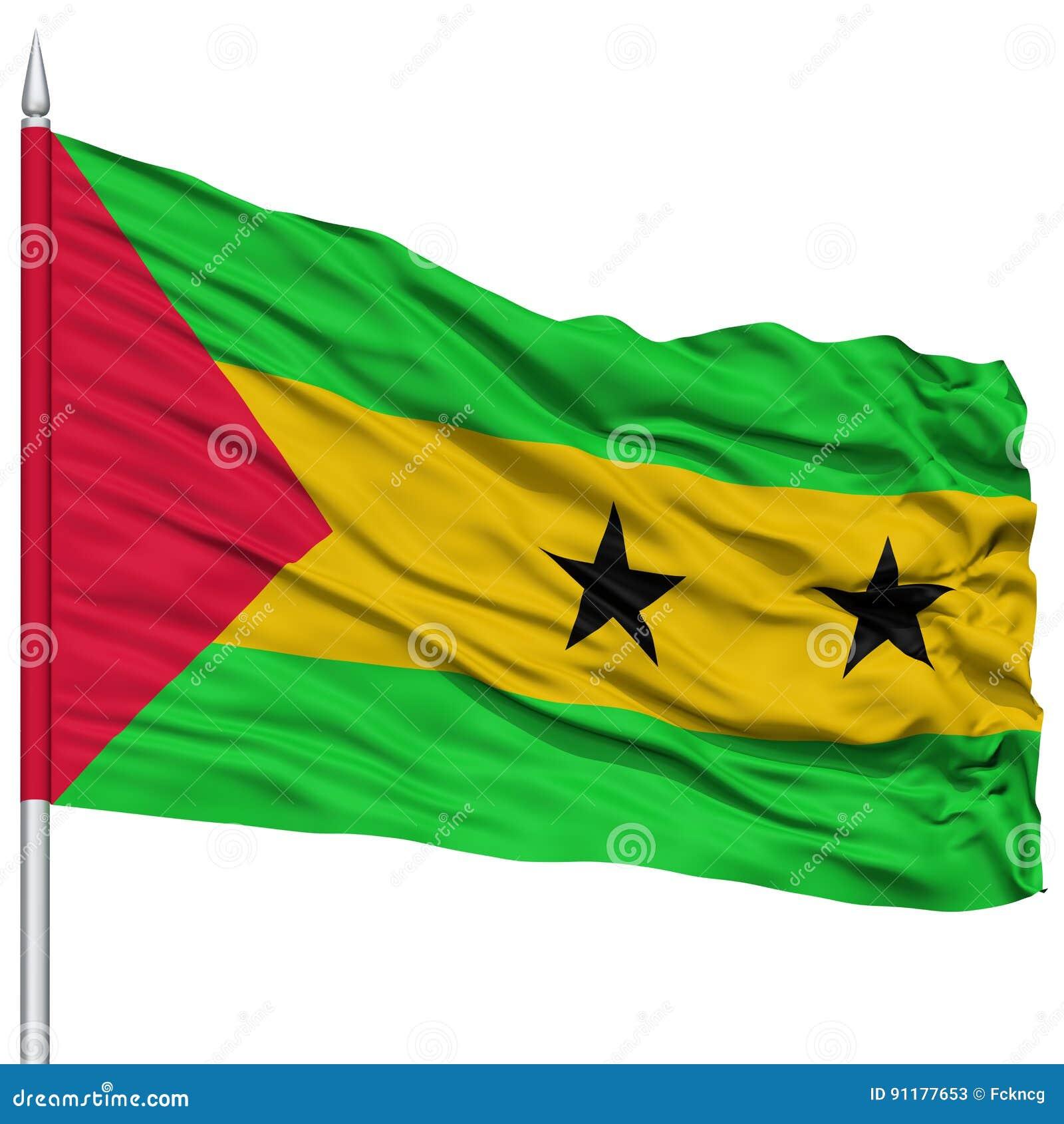 Sao wolumin i Principe flaga na Flagpole