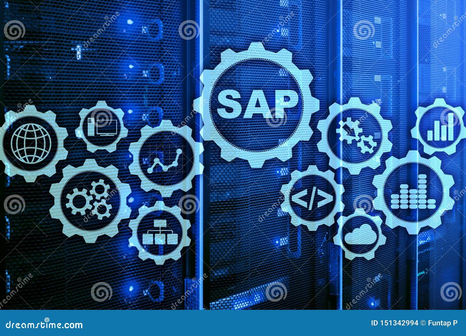 Sap System Software Automation Concept On Virtual Screen Data Center Stock Illustration Illustration Of Development Application 151342994