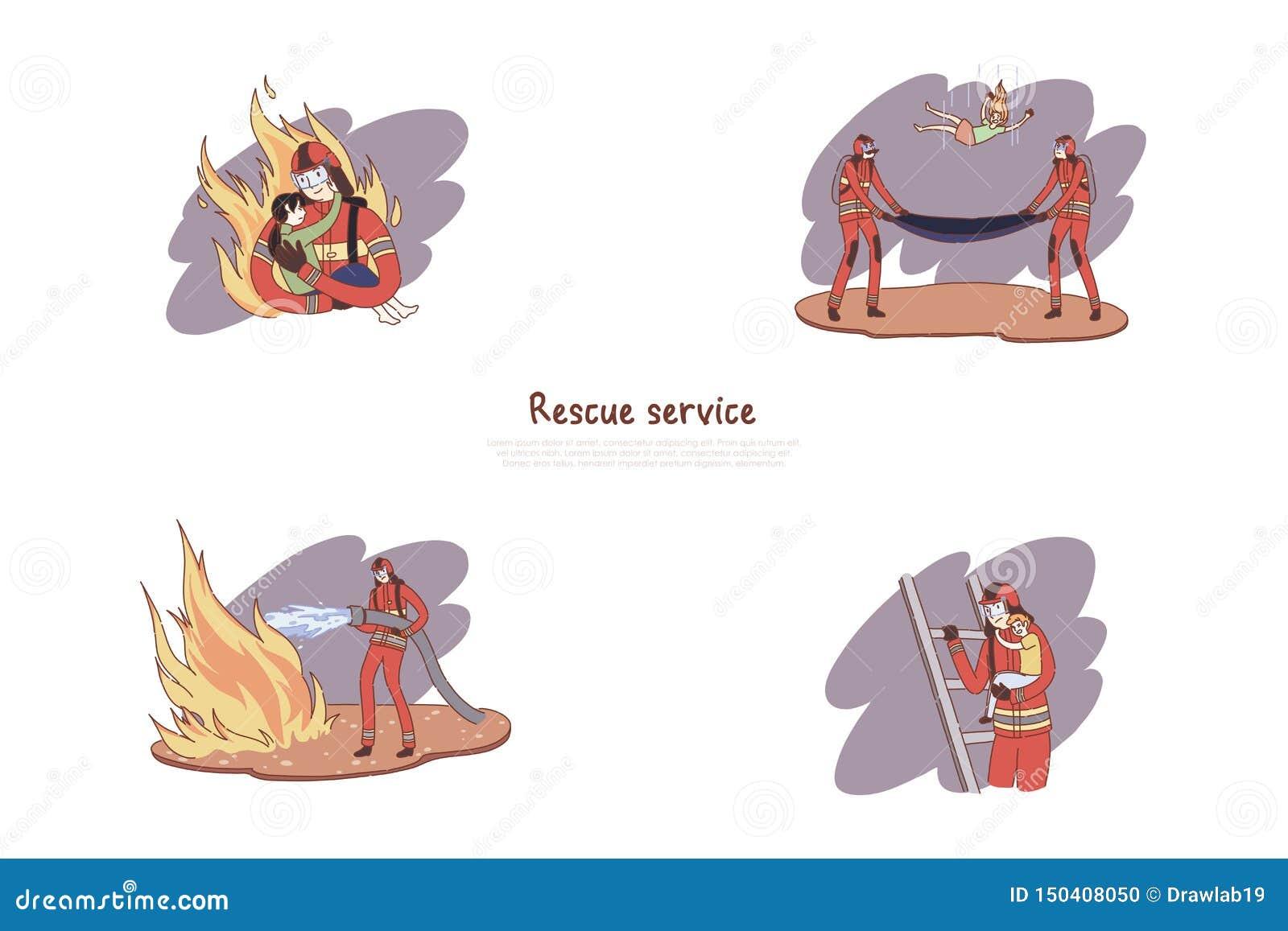 Sapadores-bombeiros corajosos no uniforme, heróis que extinguem o fogo, crianças de salvamento, bandeira do serviço de salvamento