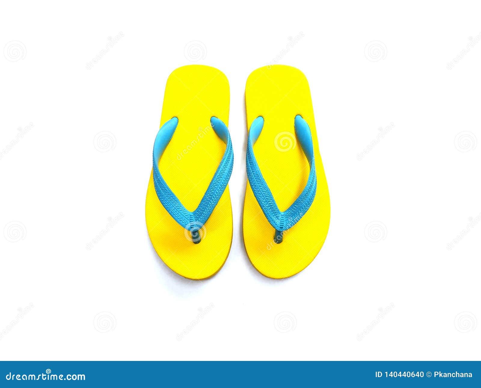 Sapatas de borracha amarelas e azuis do falhanço de aleta
