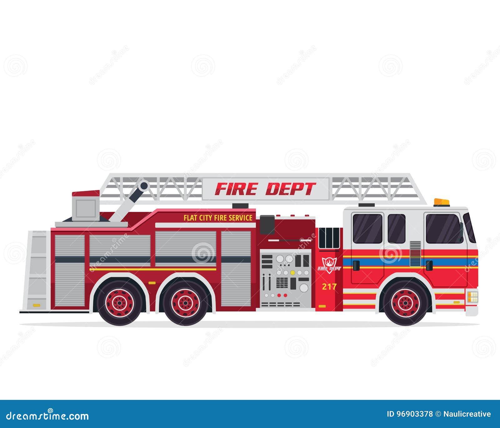 Sapeur-pompier d isolement par appartement moderne Truck Illustration