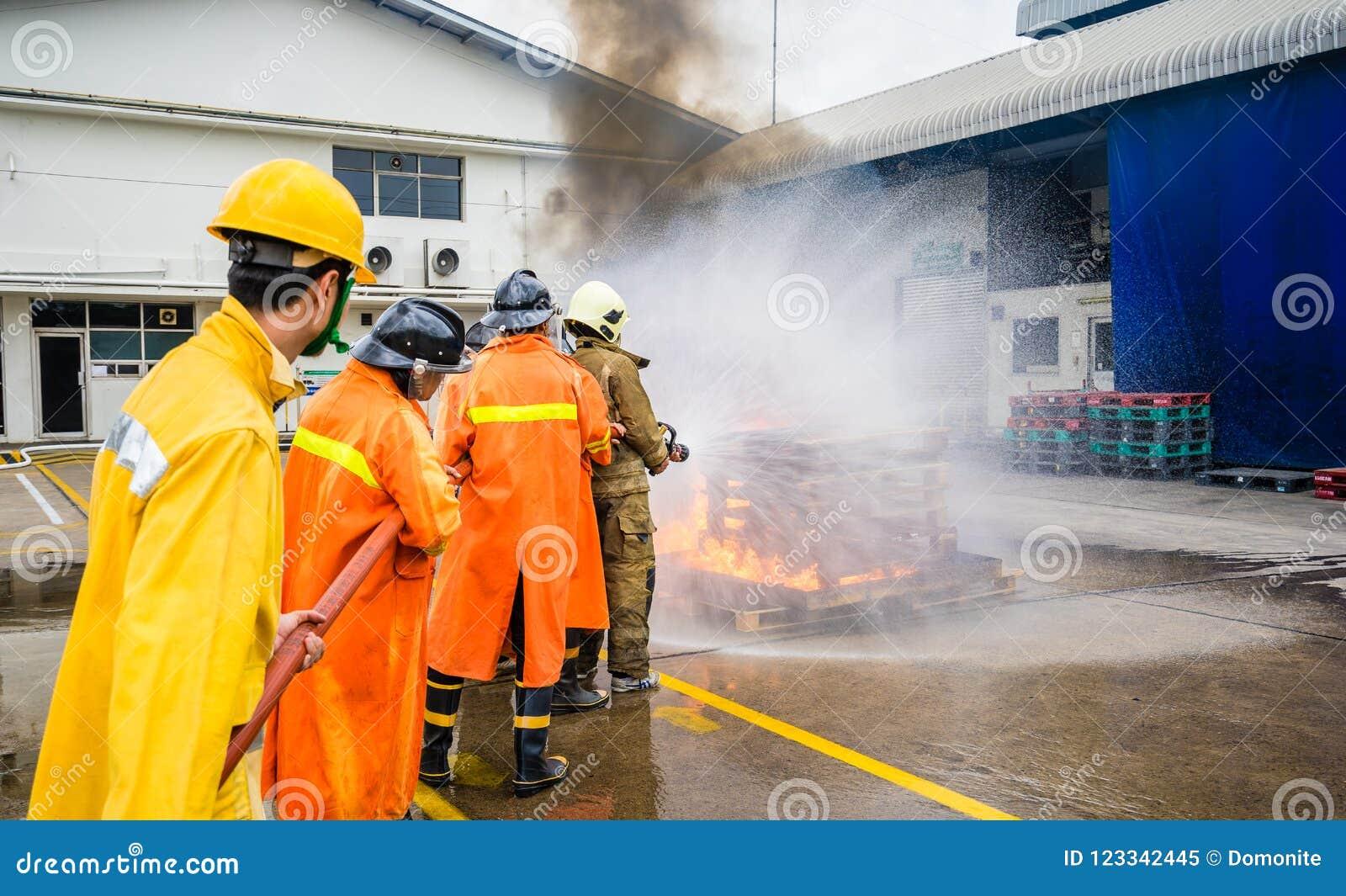 Sapeurs-pompiers combattant le feu pendant la formation