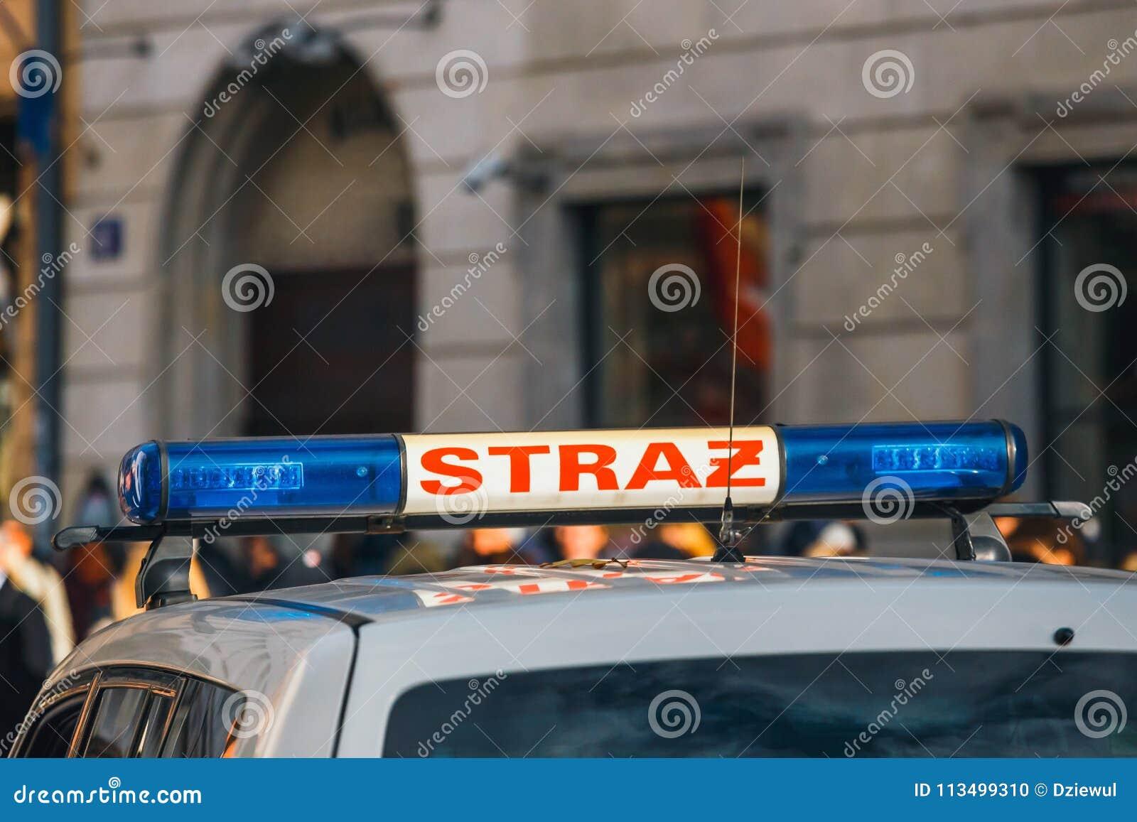 Sapeurs-pompiers polonais de signe sur le véhicule