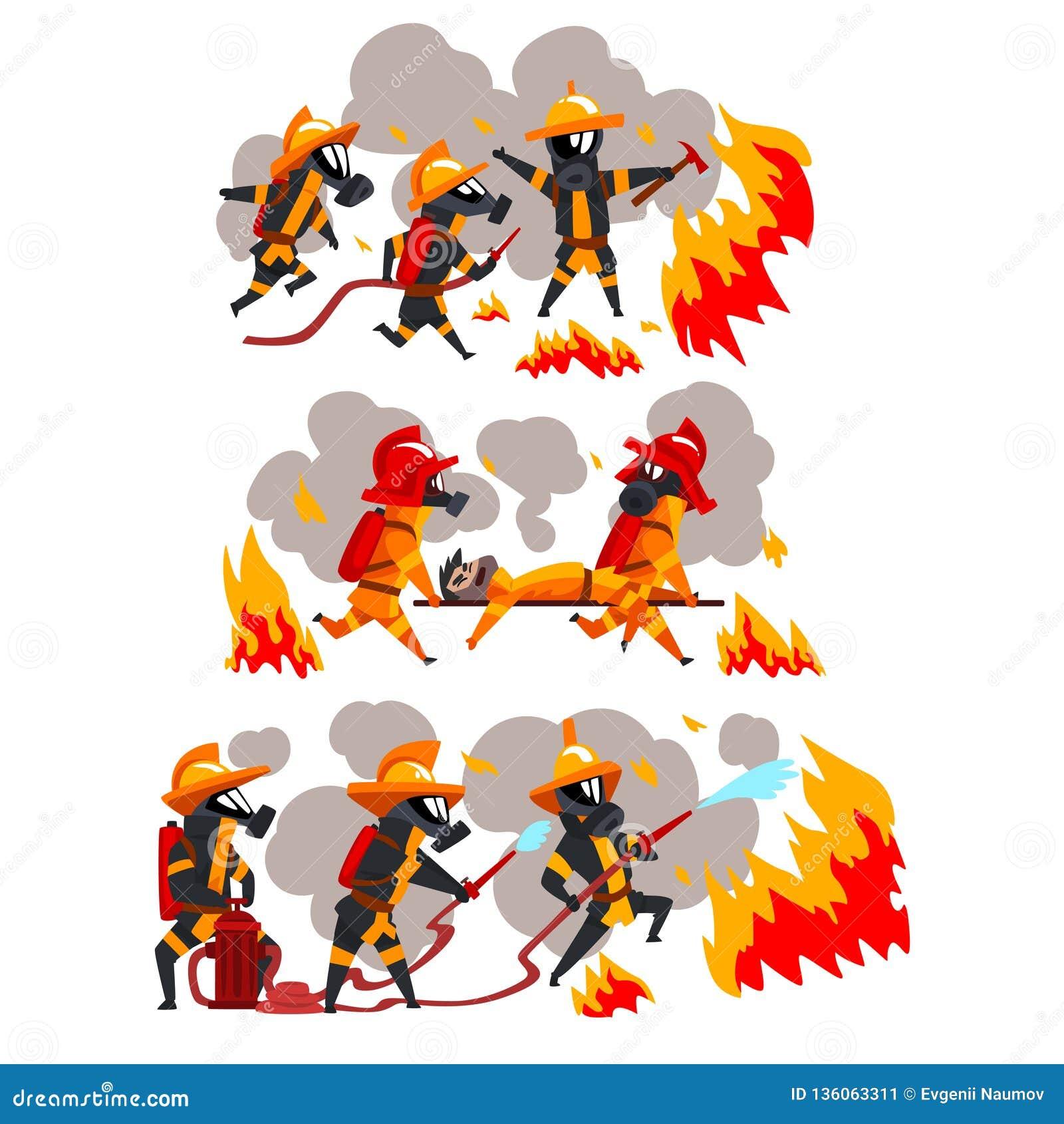 Sapeurs-pompiers s éteignant le feu et aidant les personnes, caractères de pompiers dans les masques uniformes et protecteurs au