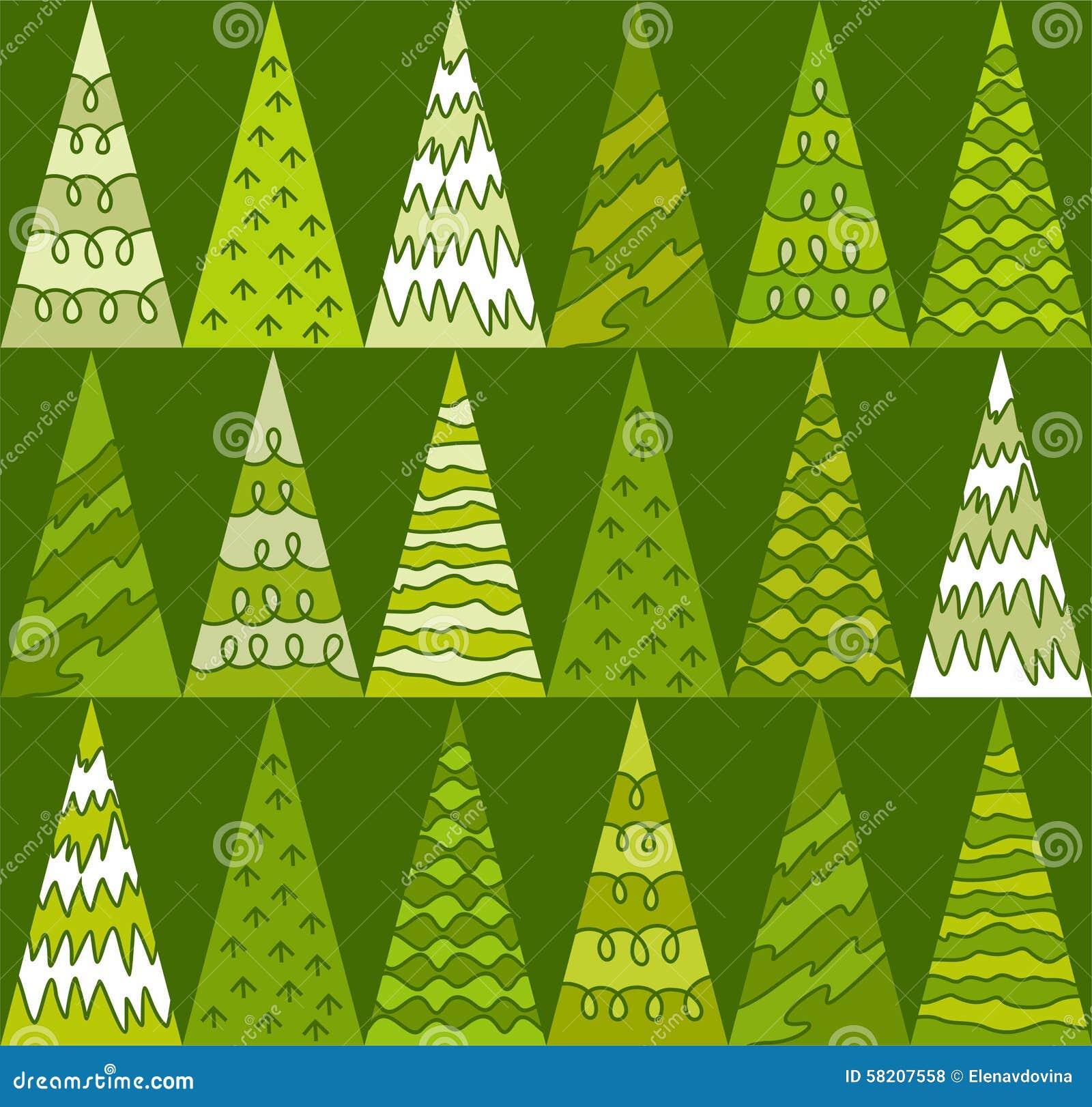 Sapin arbres vert no l triangles fond g om trique et vert sans couture illustration de - Dessin sapin vert ...