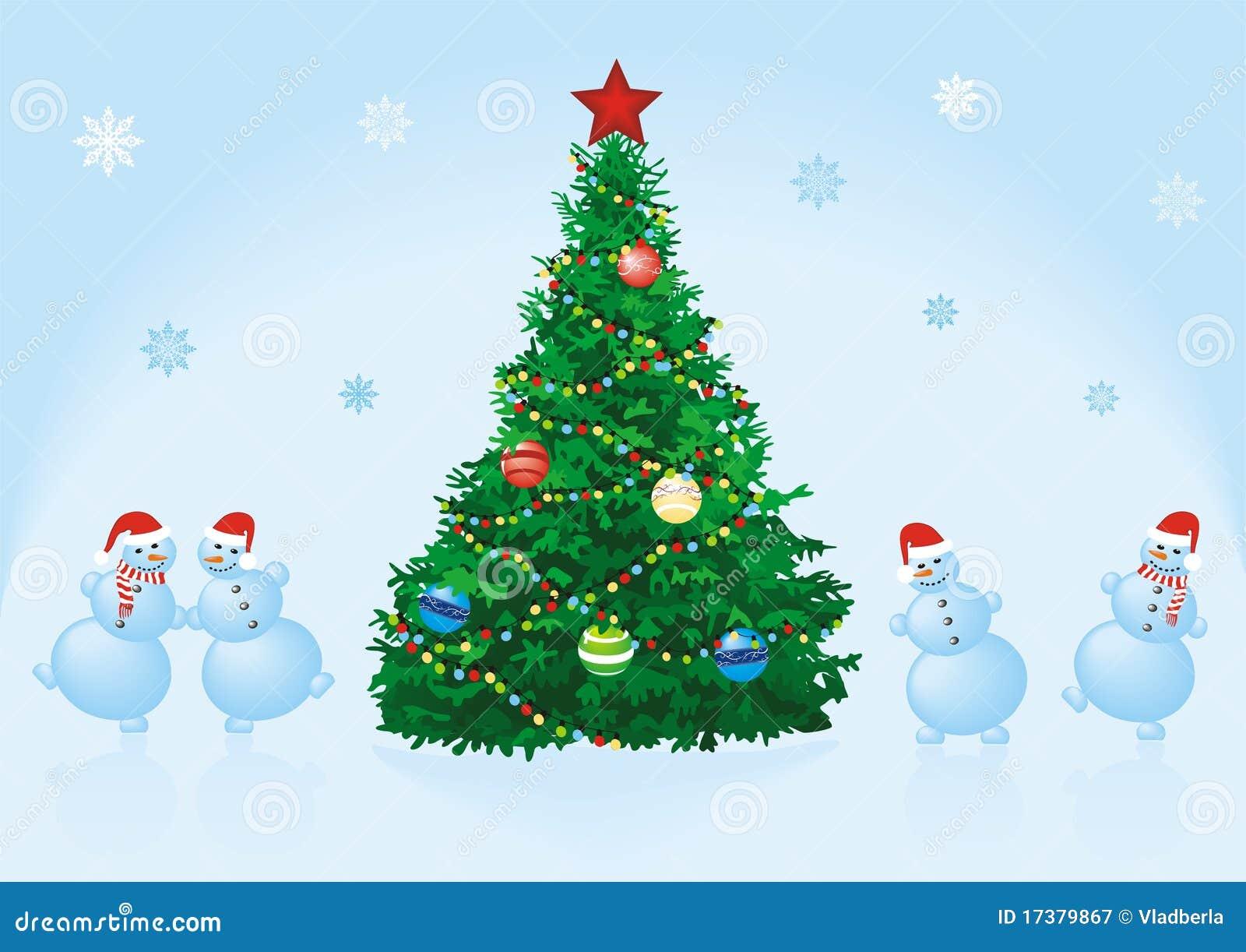 Sapin De Noël Avec Des Bonhommes De Neige De Danse Photographie Stock Libre De Droits