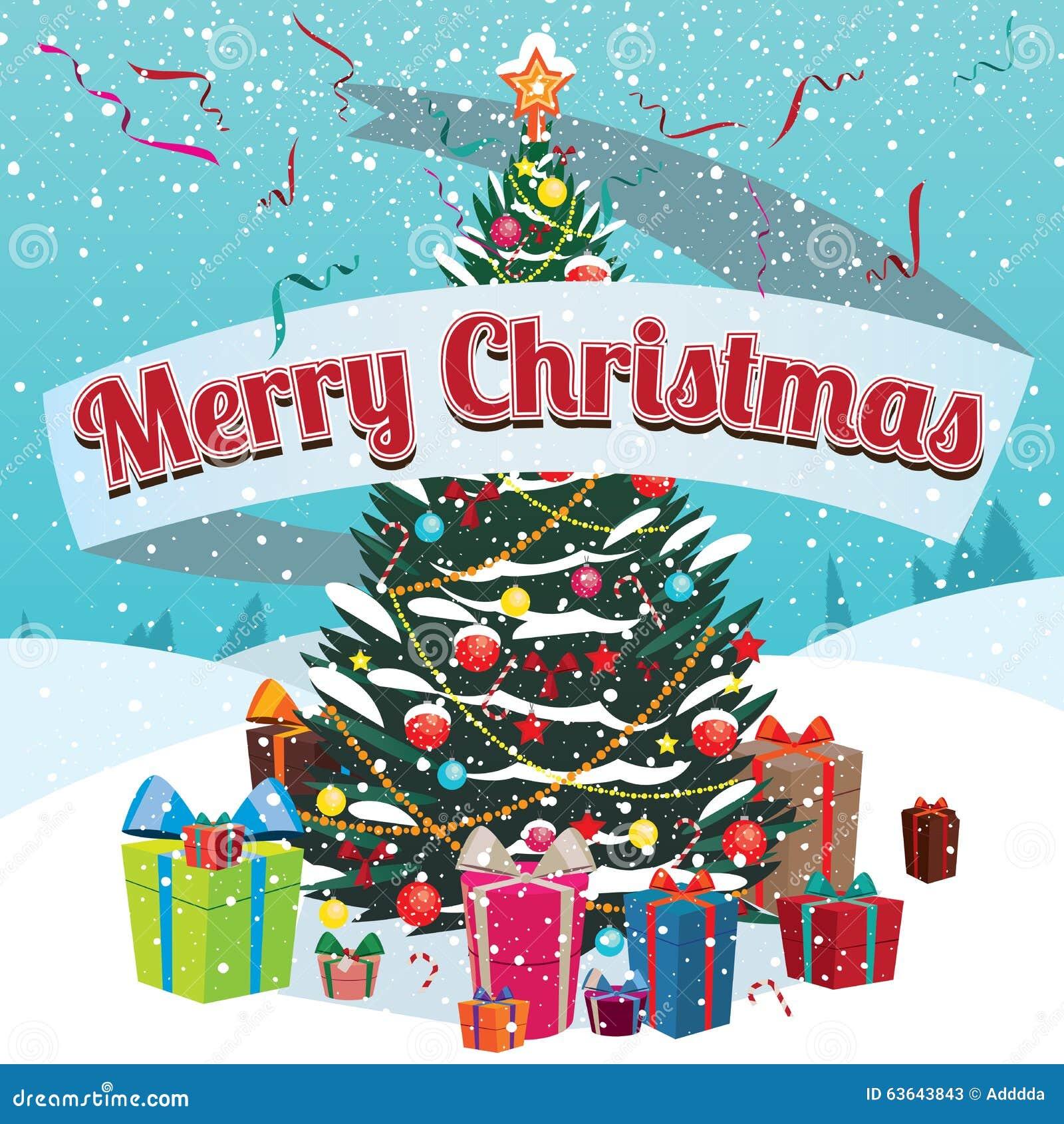 Sapin et cadeaux de Joyeux Noël en dehors de maison