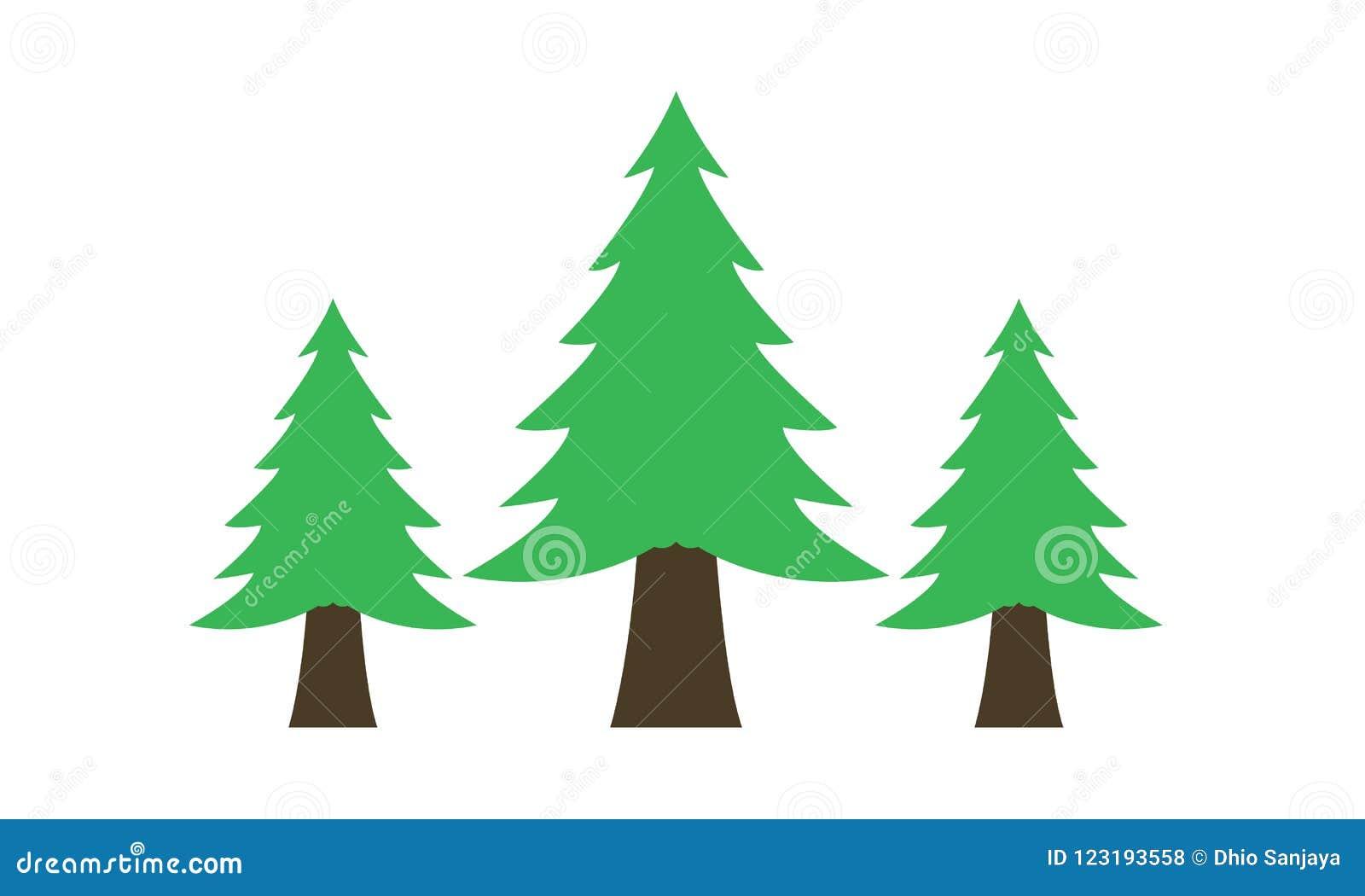 Sapin, pins, arbre de sapin, herbe, logo, nature, vert, ensemble d icône de vecteur