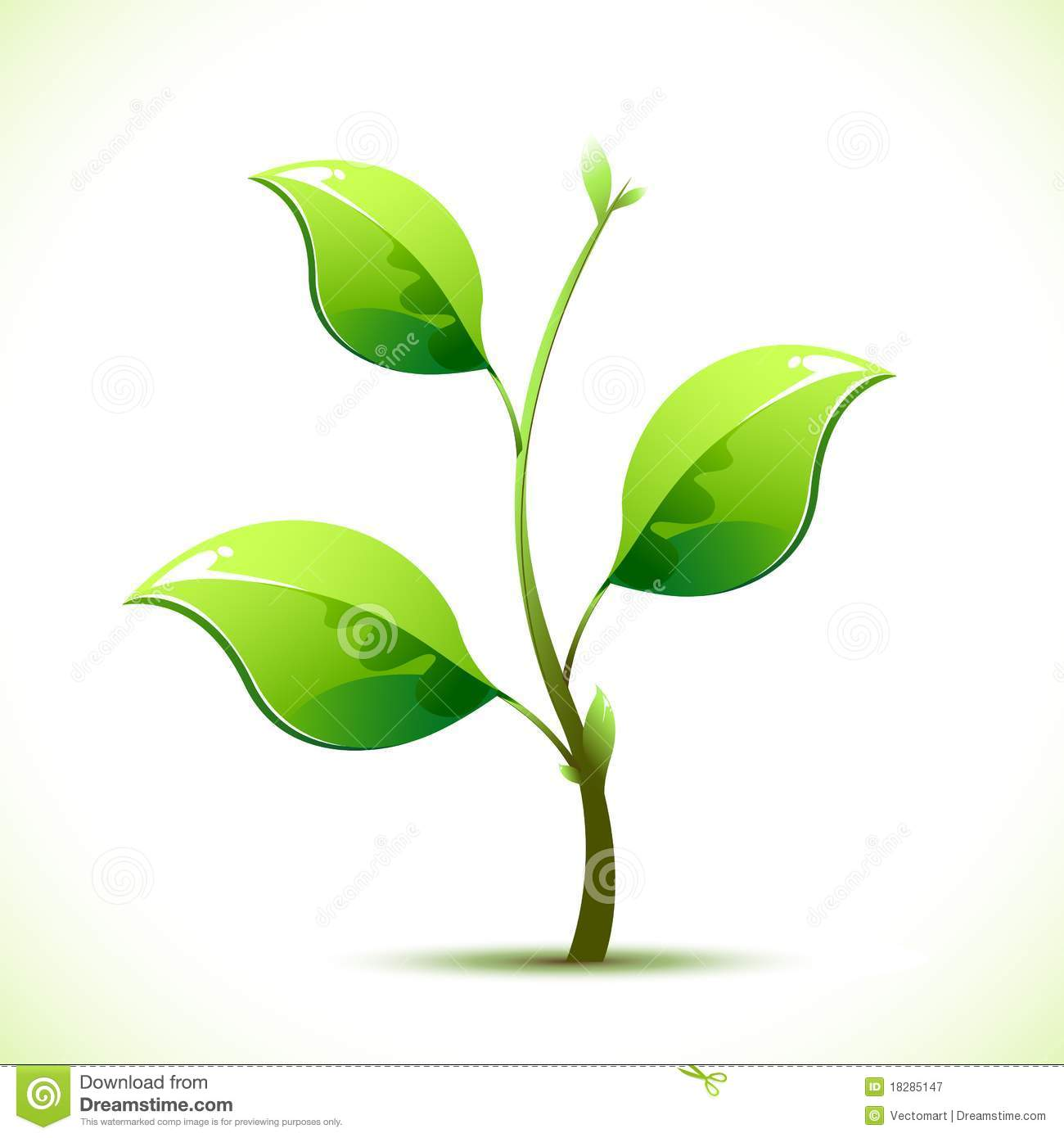 Illustration of plant sapling growing on abstract background.