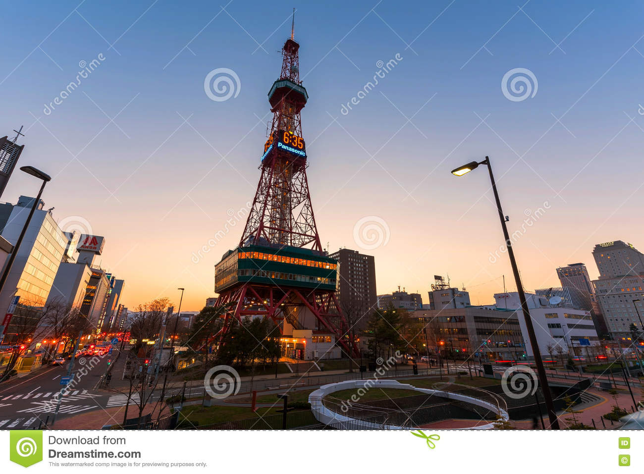 Sapporo Tv Tower At Sunset Editorial Stock Photo