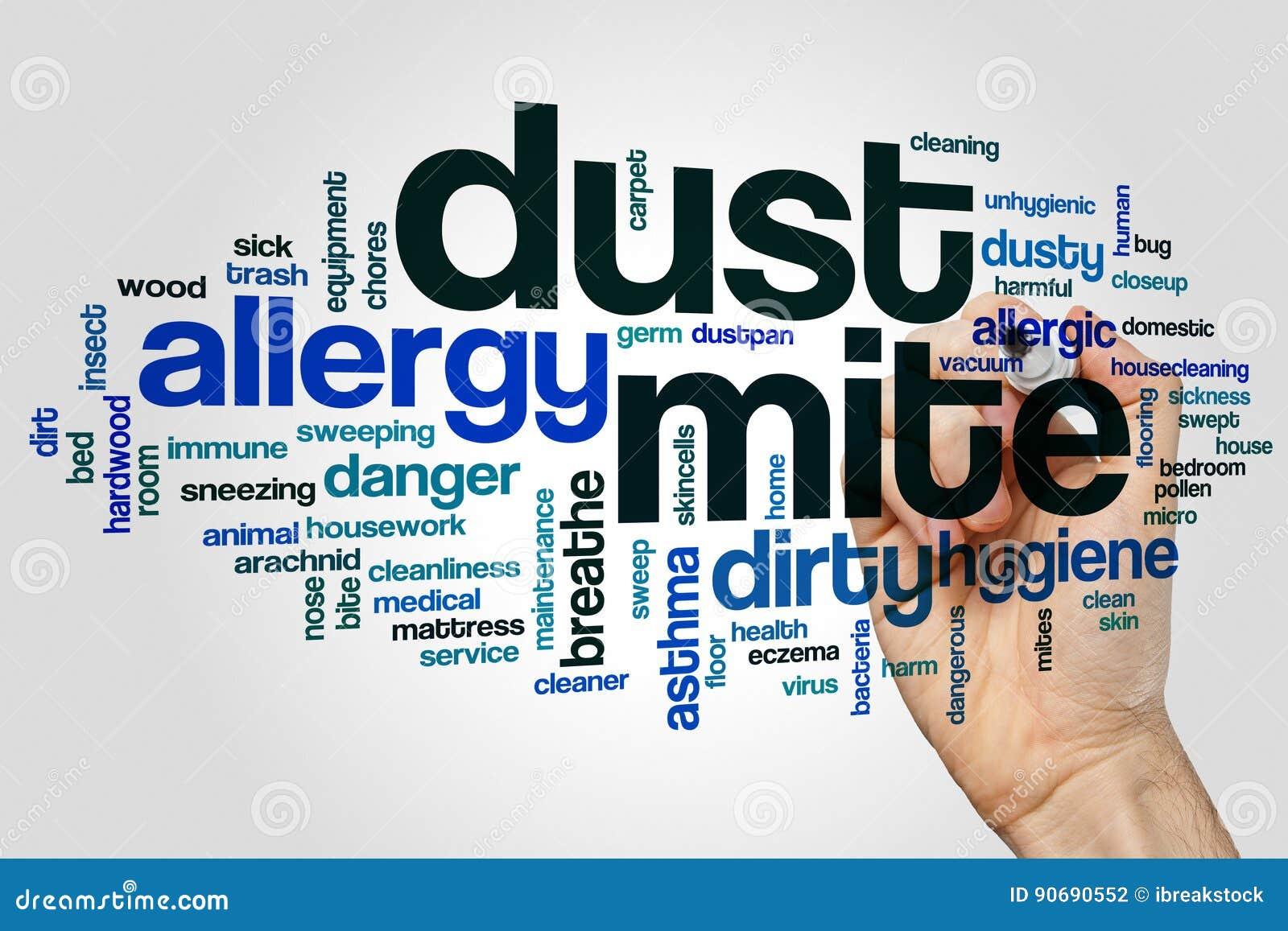 Saque el polvo del concepto de la nube de la palabra del ácaro en fondo gris